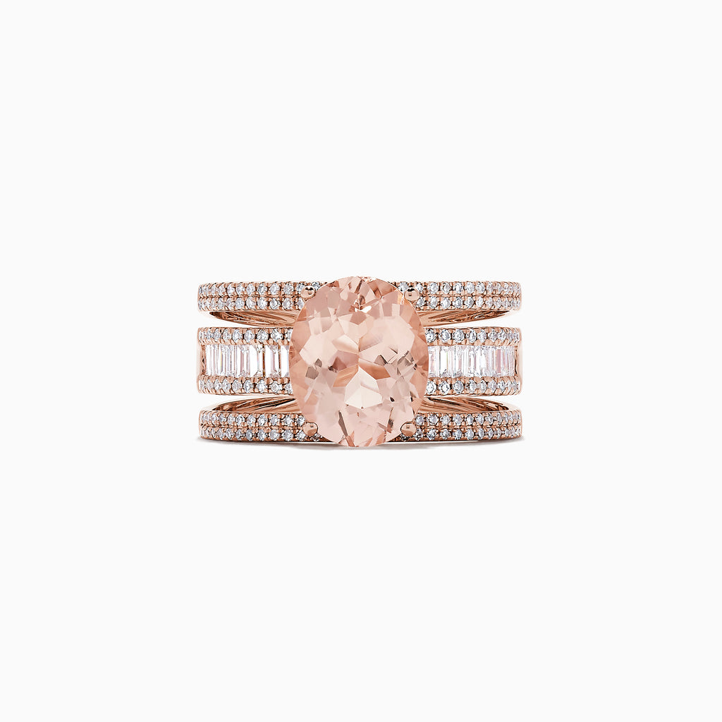 Effy Blush 14K Rose Gold Morganite and Diamond Ring, 4.06
