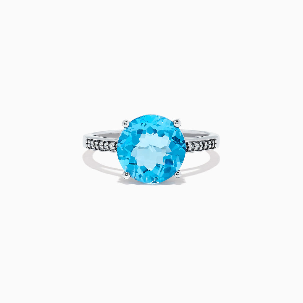 Effy Ocean Bleu 14K White Gold Blue Topaz and Diamond Ring, 4.74 TCW