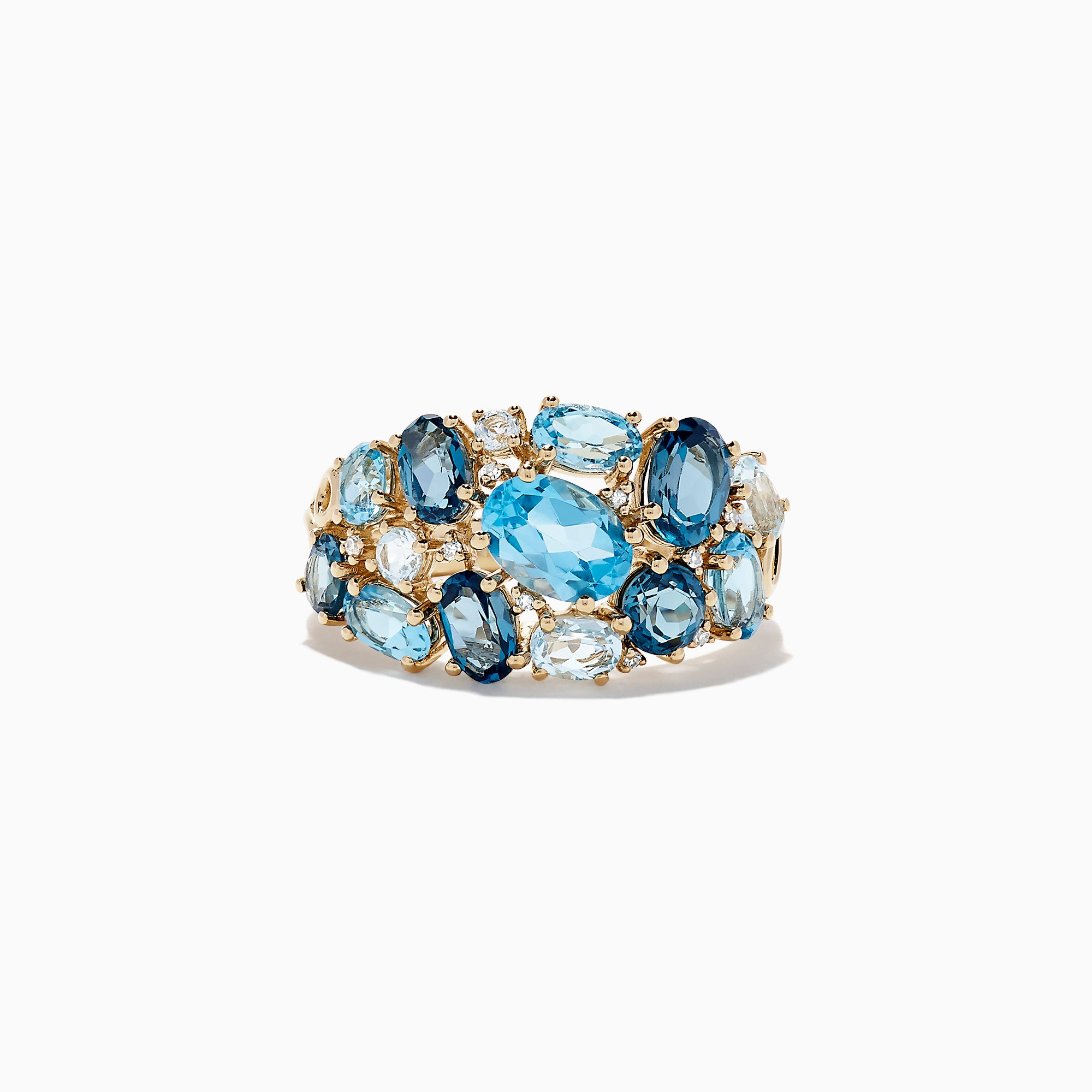 Effy 14K Yellow Gold Blue Topaz and Diamond Ring, 4.74 TCW