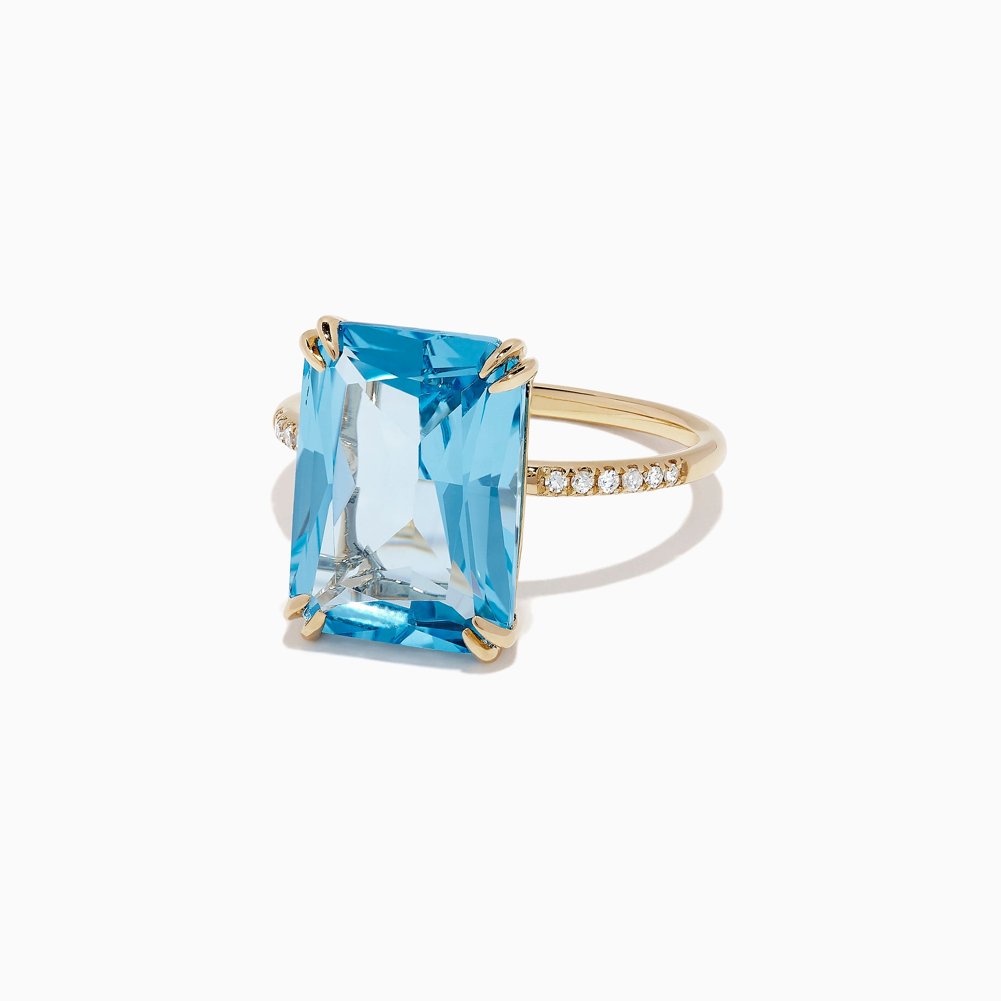 Effy Ocean Bleu 14K Yellow Gold Blue Topaz and Diamond Ring, 8.06 TCW