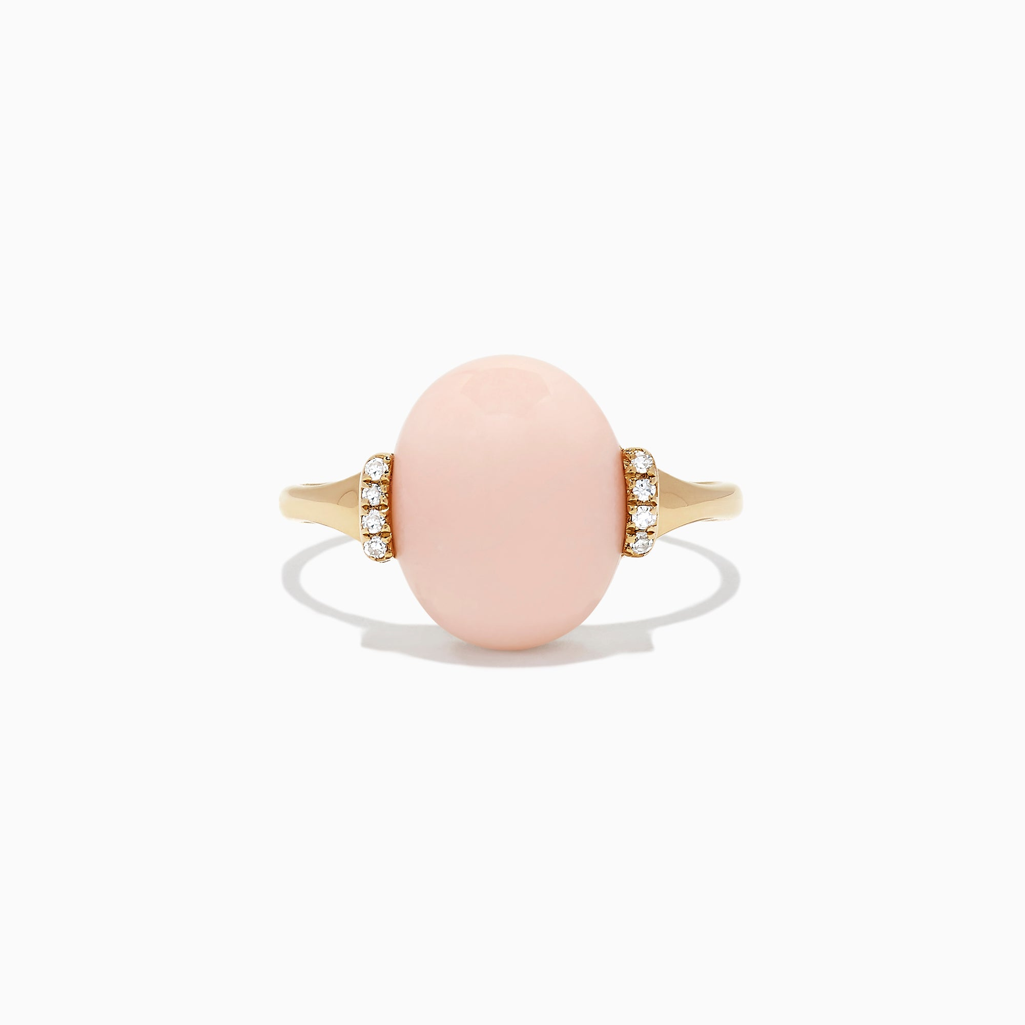 Effy 14K Yellow Gold Coral and Diamond Ring, 4.08 TCW