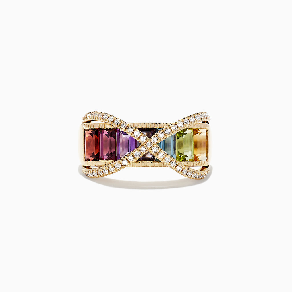 Effy Mosaic 14K Yellow Gold Multi Gemstone and Diamond Ring, 2.53 TCW