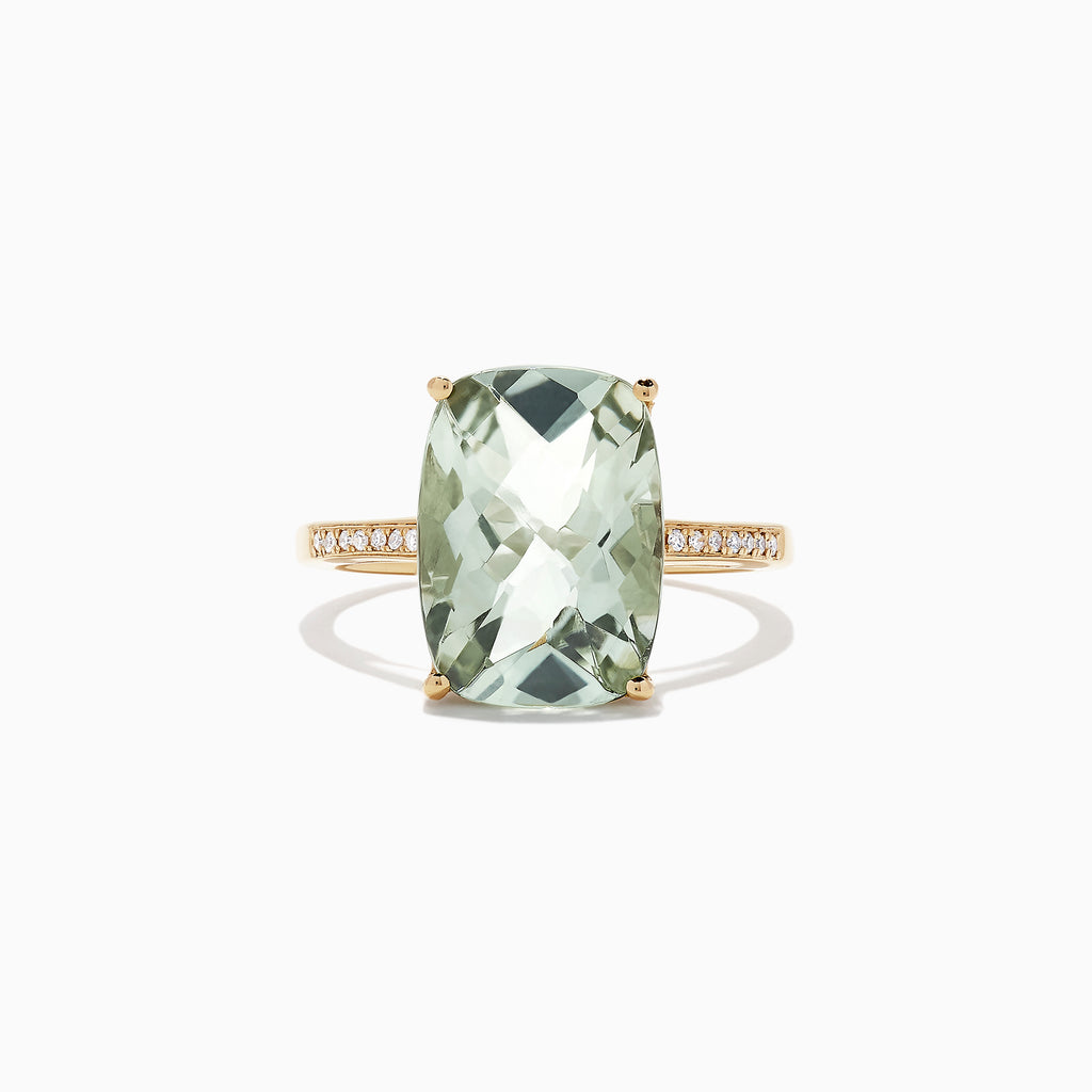 Effy 14K Yellow Gold Green Amethyst and Diamond Ring, 1.72 TCW