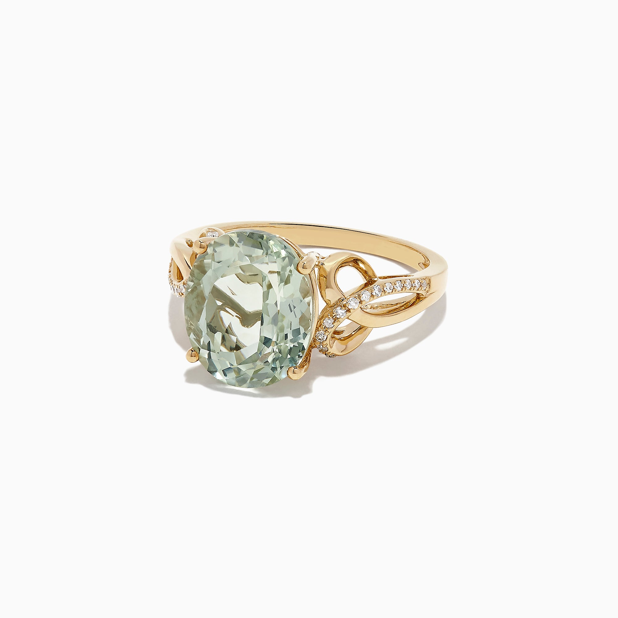 Effy 14K Yellow Gold Green Amethyst and Diamond Ring, 4.46 TCW