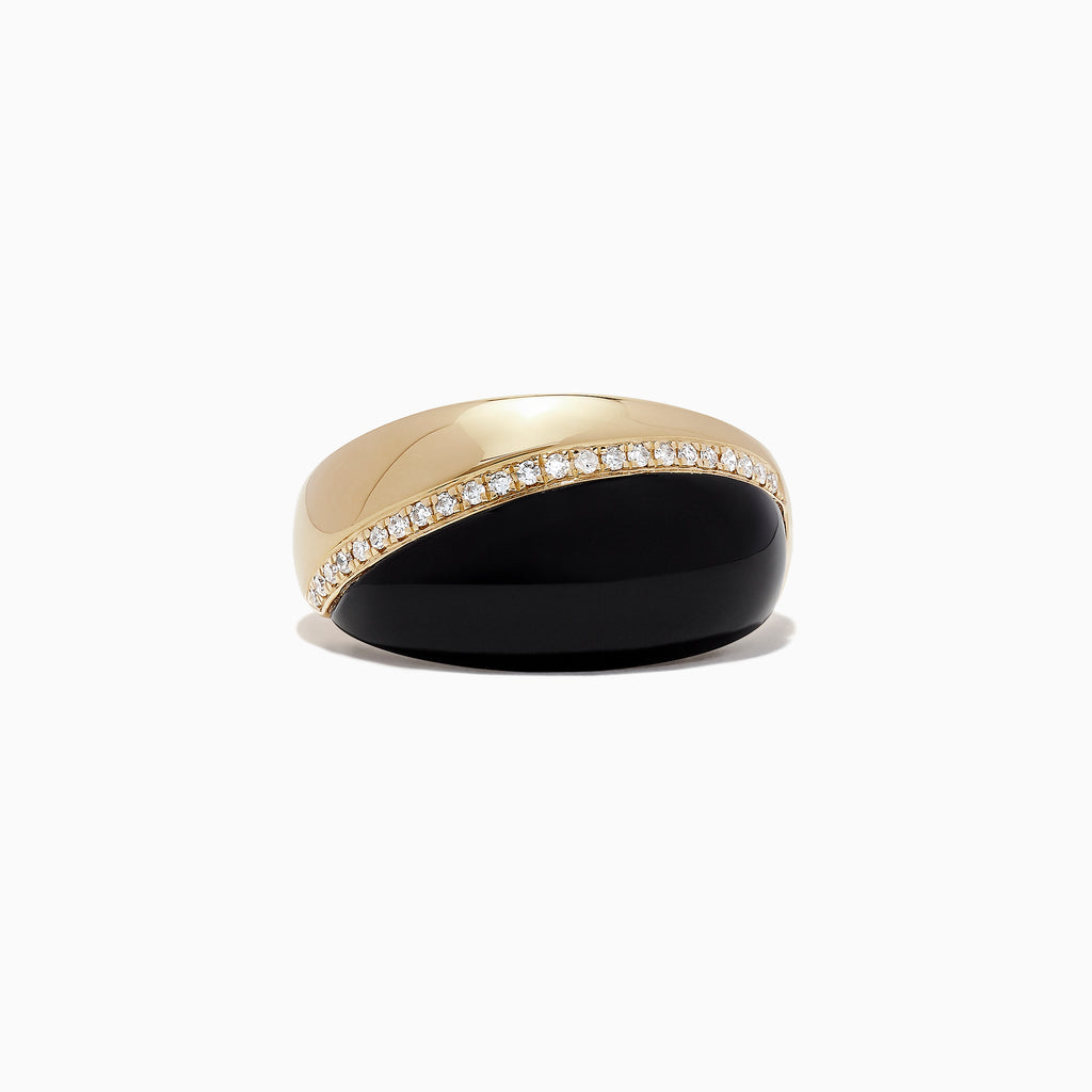 Effy Eclipse 14K Yellow Gold Onyx and Diamond Ring, 4.26 TCW