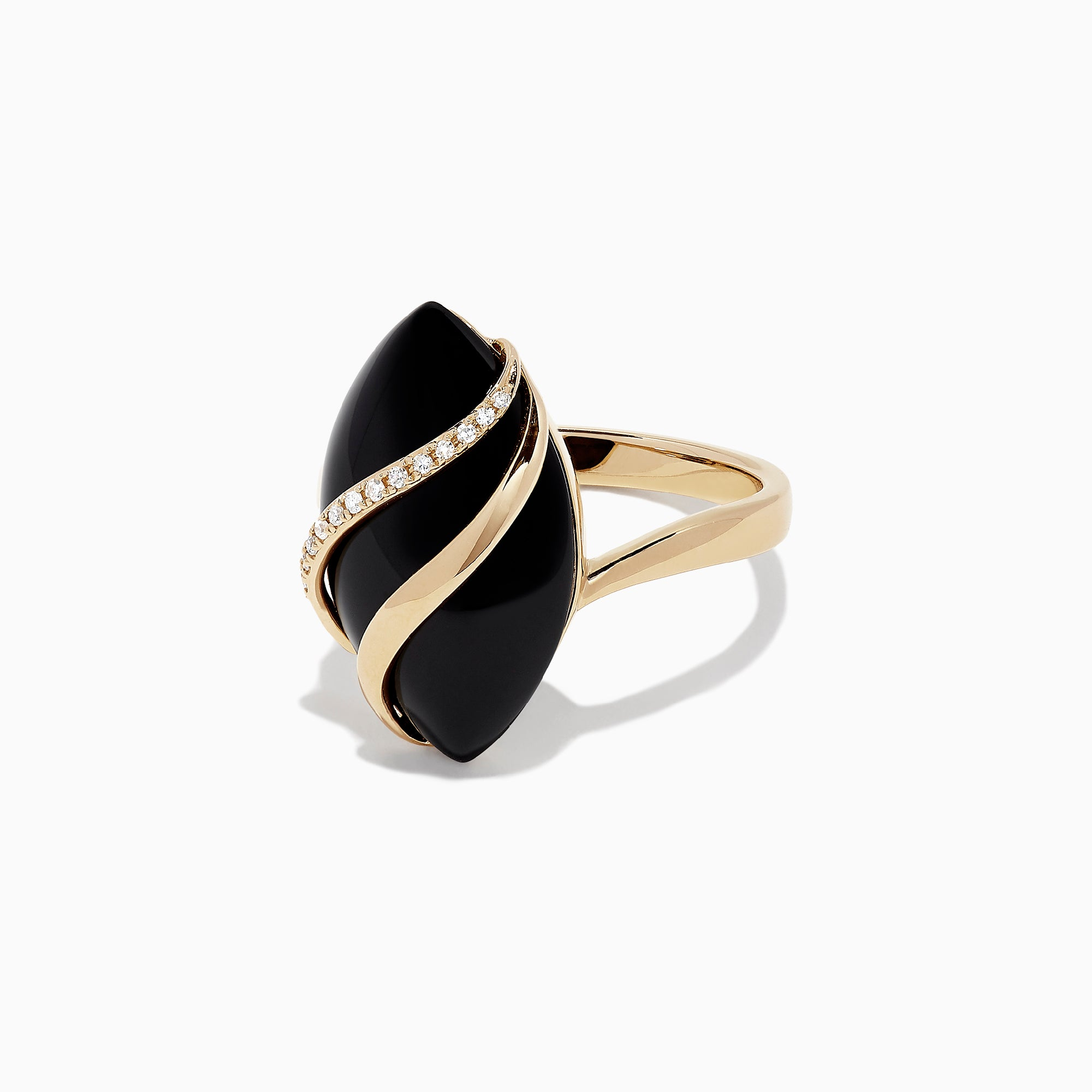 Effy Eclipse 14K Yellow Gold Onyx and Diamond Ring, 1.79 TCW