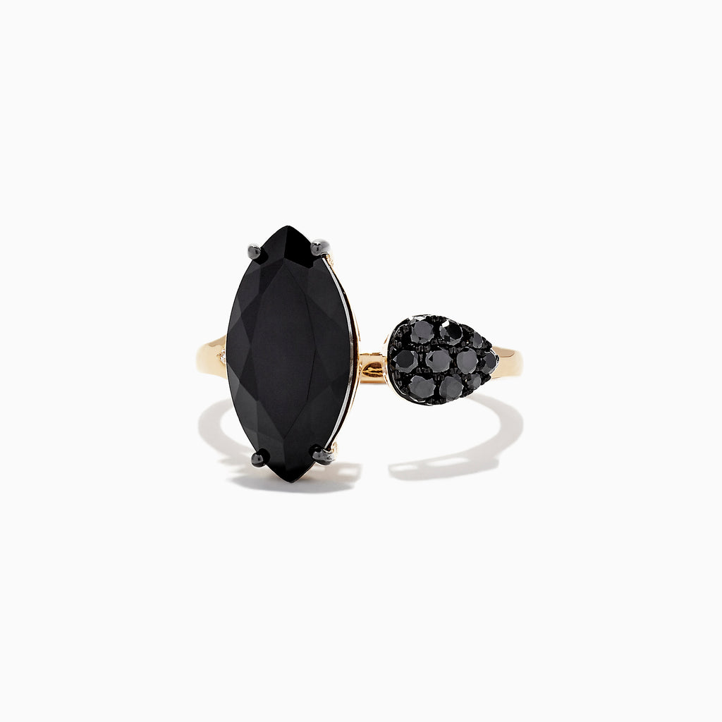 Effy Eclipse 14K Yellow Gold Onyx and Diamond Ring, 4.78 TCW