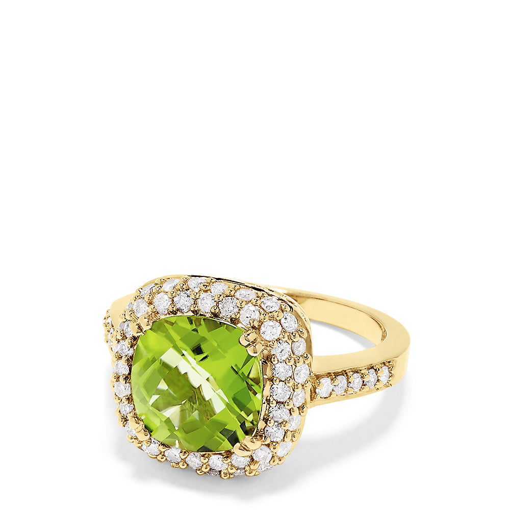 Effy 14K Yellow Gold Peridot and Diamond Ring, 4.96 TCW