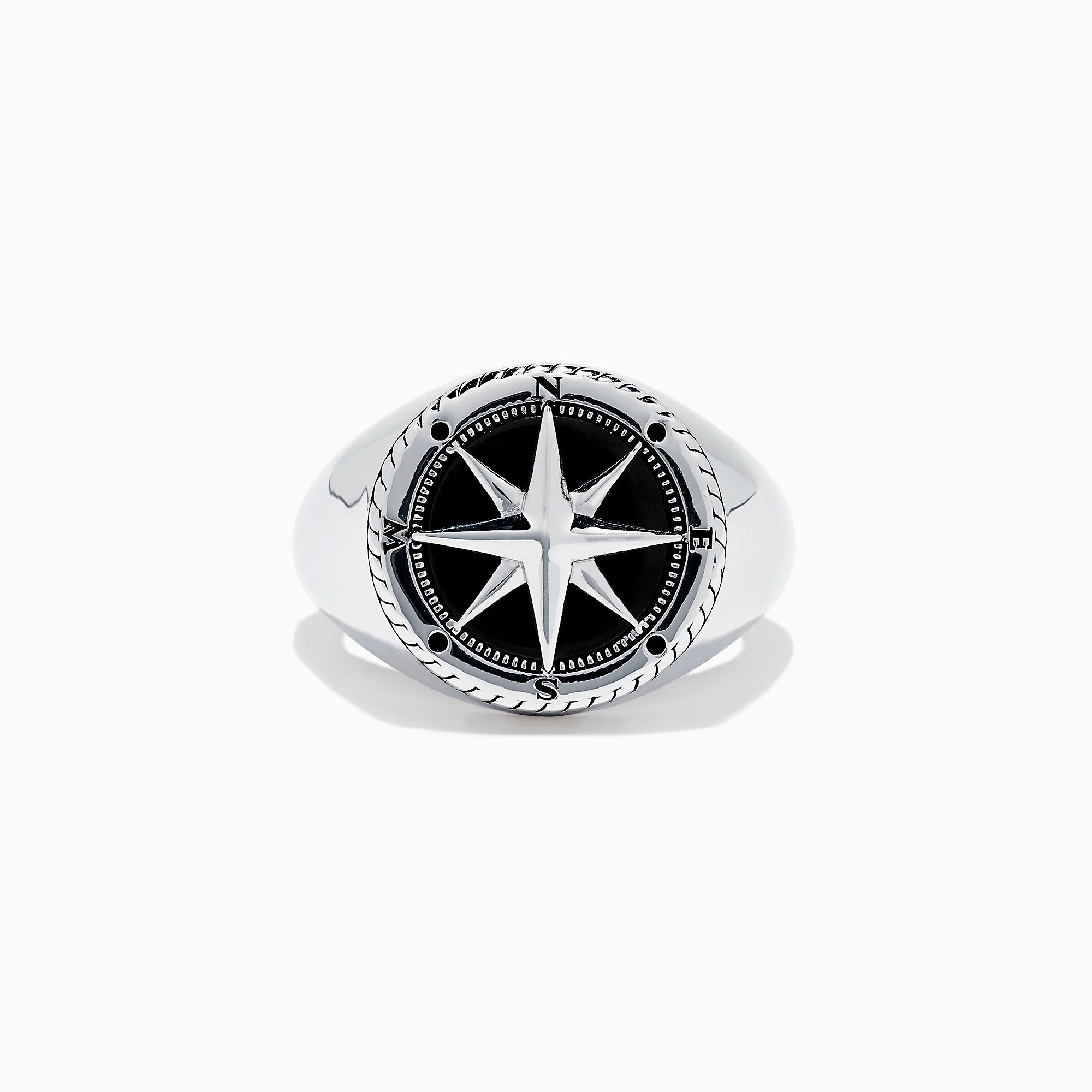 Effy Men's Sterling Silver Onyx Compass Ring, 2.61 TCW