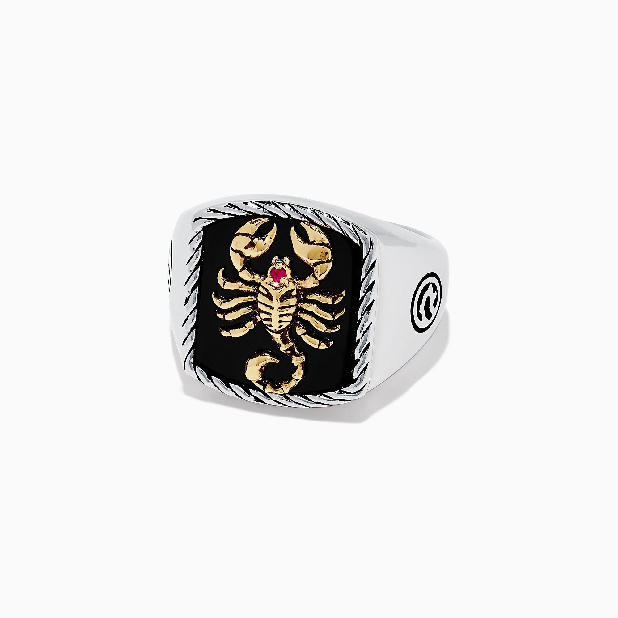 Effy Men's Silver & 14K Gold Plating Onyx and Ruby Scorpion Ring, 5.00 TCW