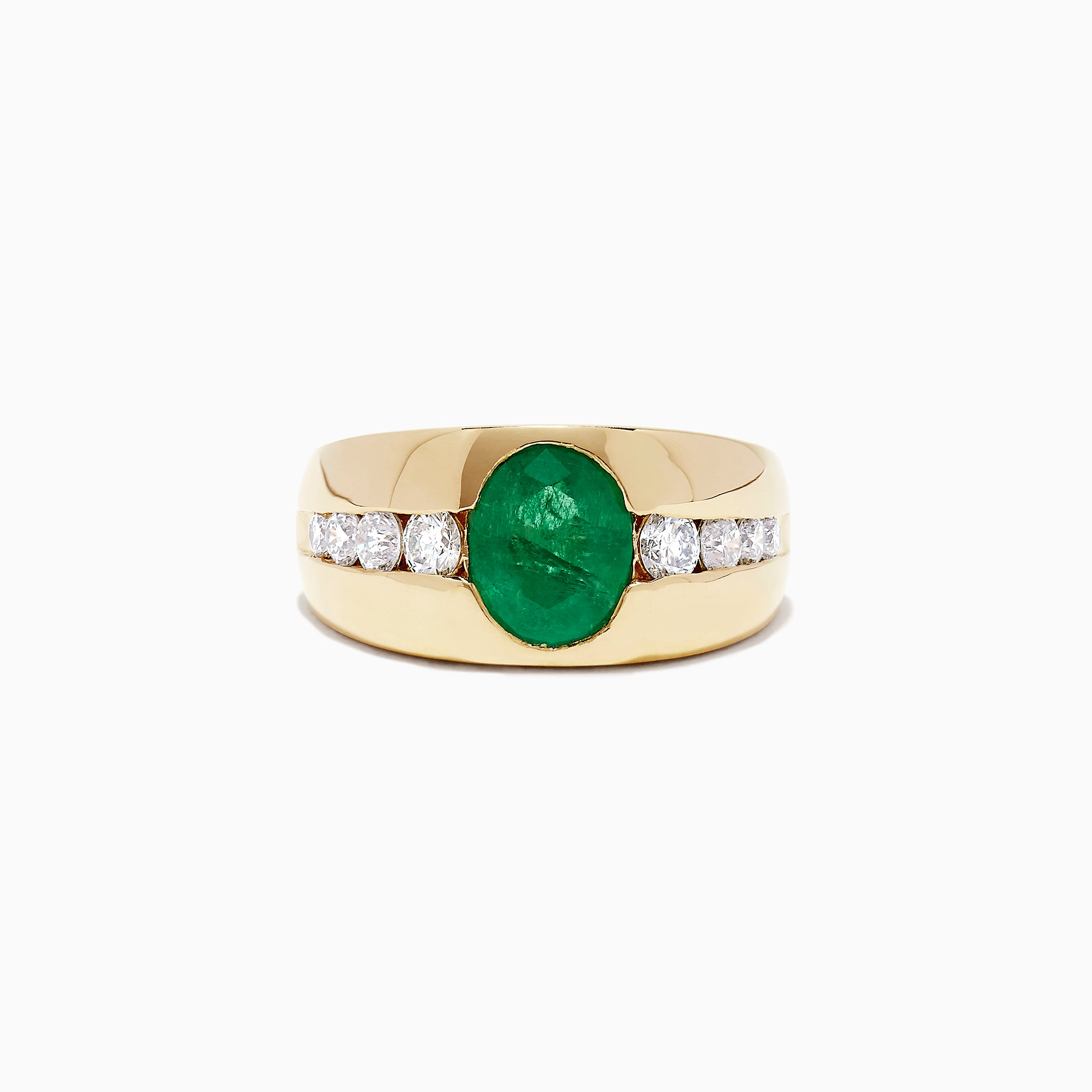 Effy Men's 14K Yellow Gold Emerald and Diamond Ring, 3.16 TCW