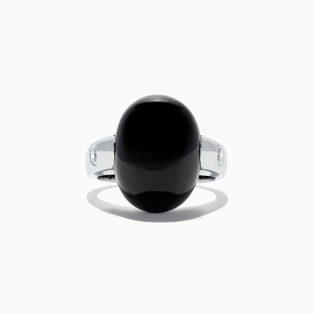 Effy Men's 14K White Gold Onyx and Diamond Dome Ring, 15.49 TCW