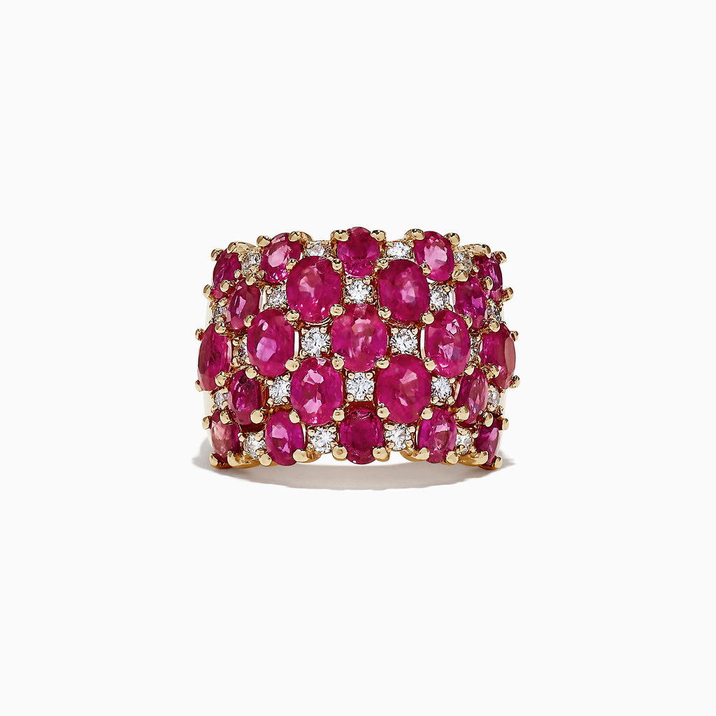 Effy Ruby Royale 14K Yellow Gold Ruby and Diamond Ring, 7.82 TCW