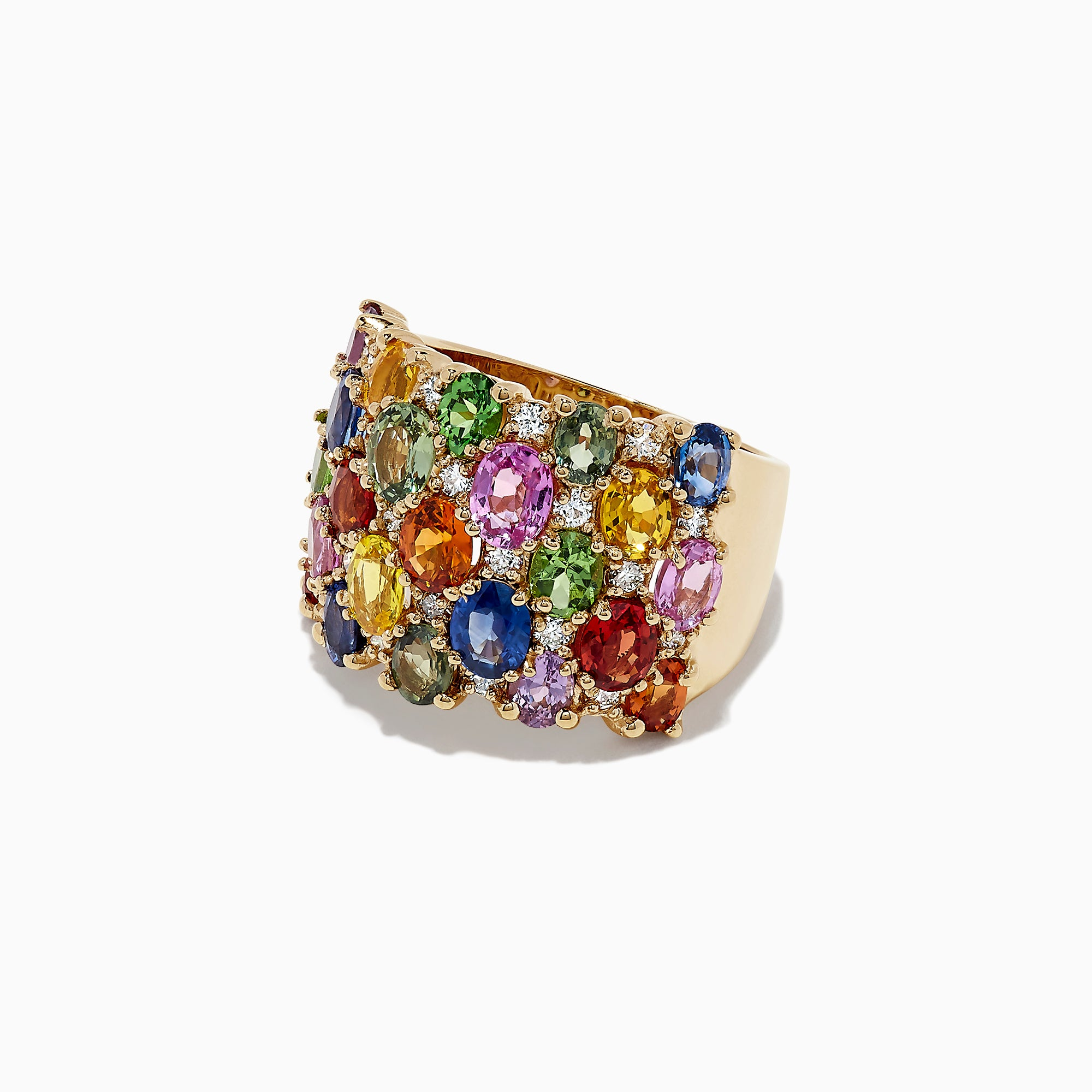 Effy Watercolors 14K Yellow Gold Multi Sapphire & Diamond Ring, 7.38 TCW