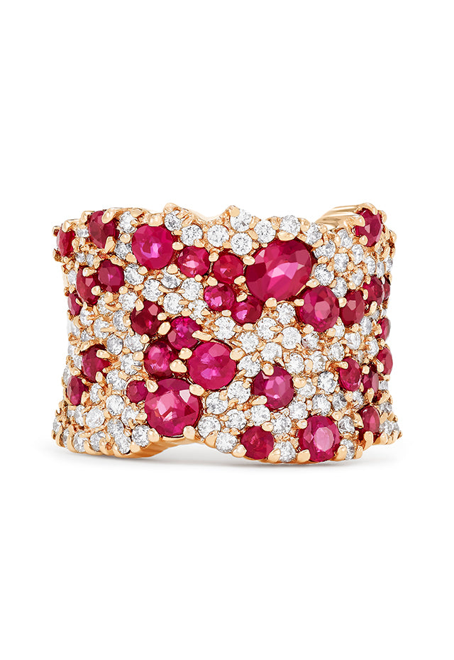 Effy Gemma 14K Rose Gold Natural Ruby and Diamond Ring, 3.86 TCW