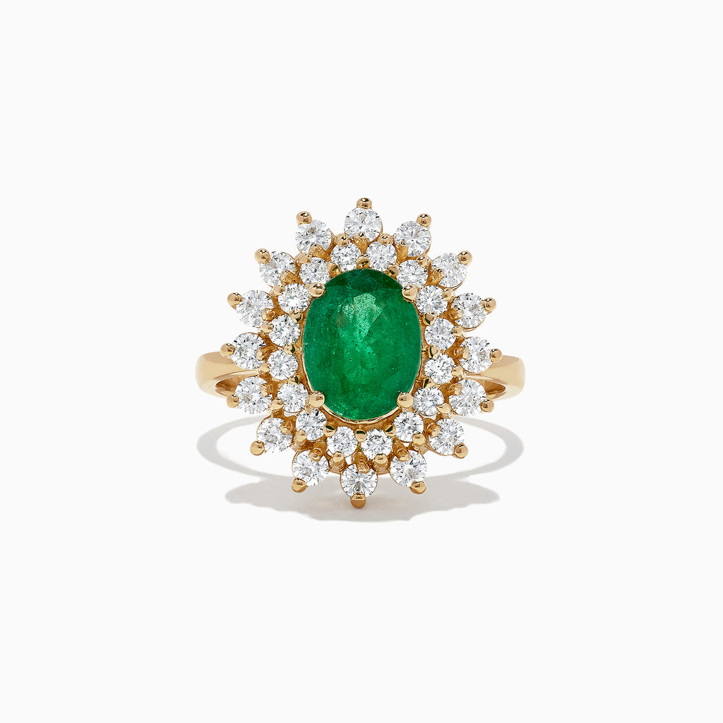 Effy Brasilica 14K Yellow Gold Emerald and Diamond Ring, 2.54 TCW