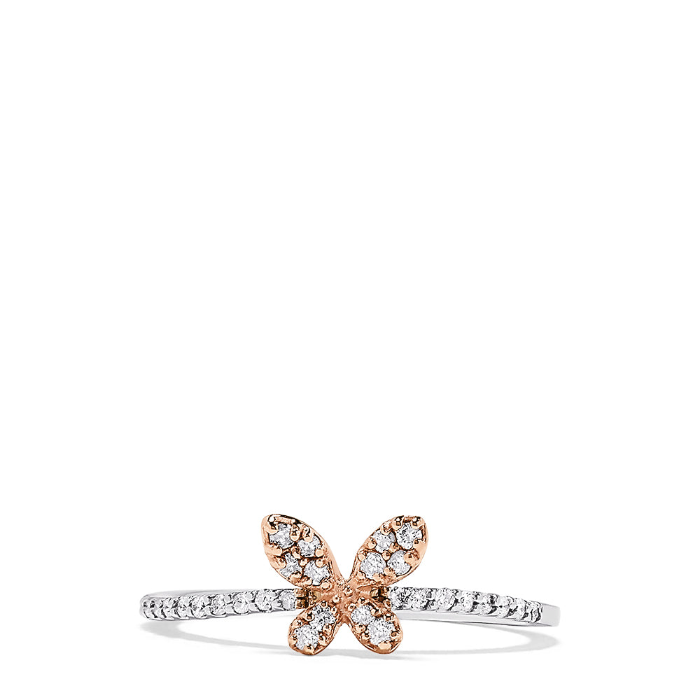 Effy 14K Two Tone Gold Diamond Butterfly Ring, 0.20 TCW