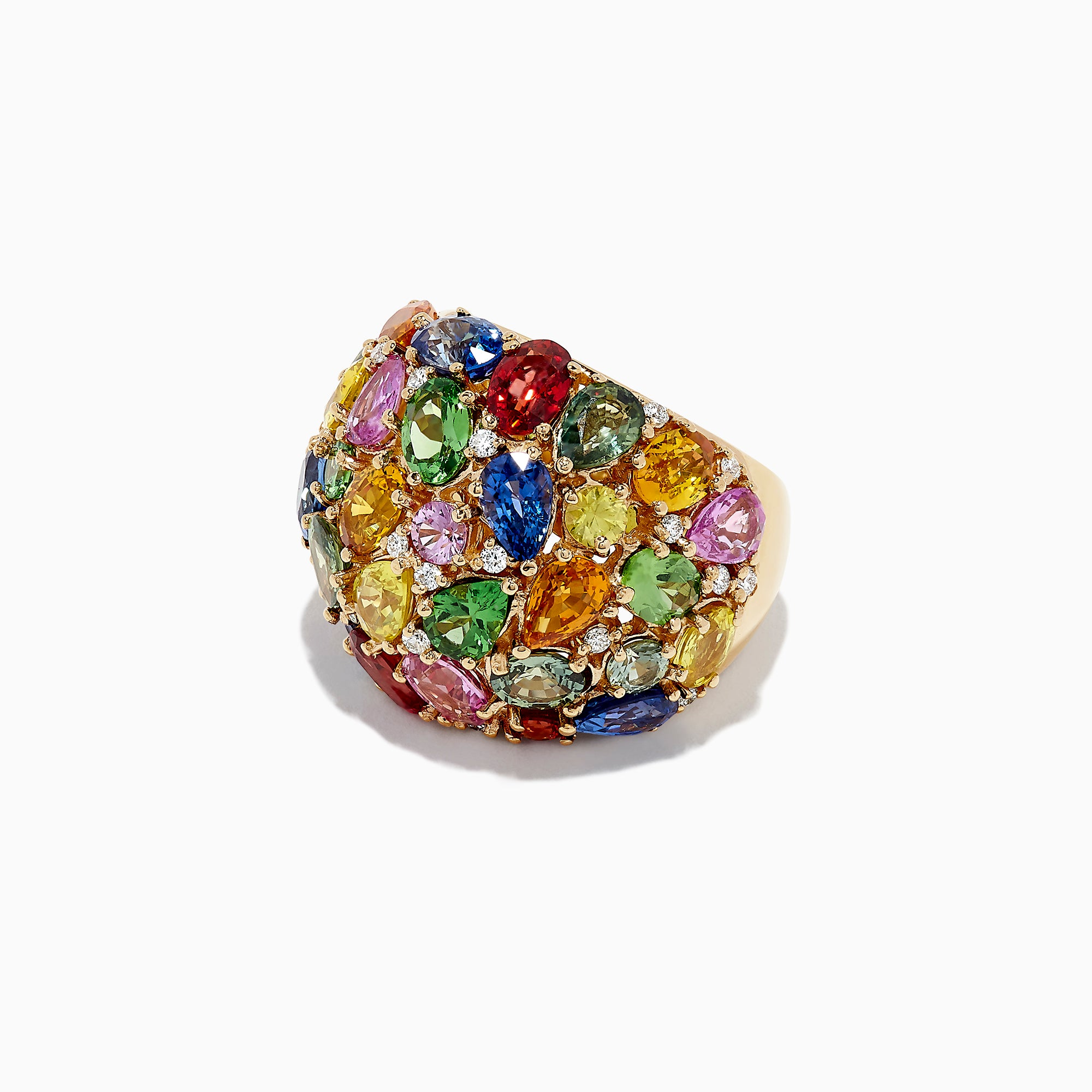 Effy Watercolors 14K Yellow Gold Multi Sapphire & Diamond Ring, 13.94 TCW