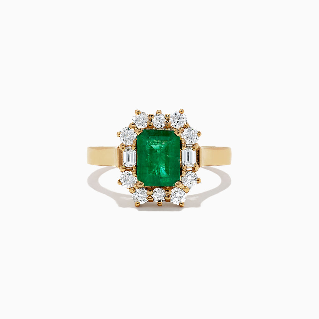 Effy Brasilica 14K Yellow Gold Emerald and Diamond Ring, 2.09 TCW
