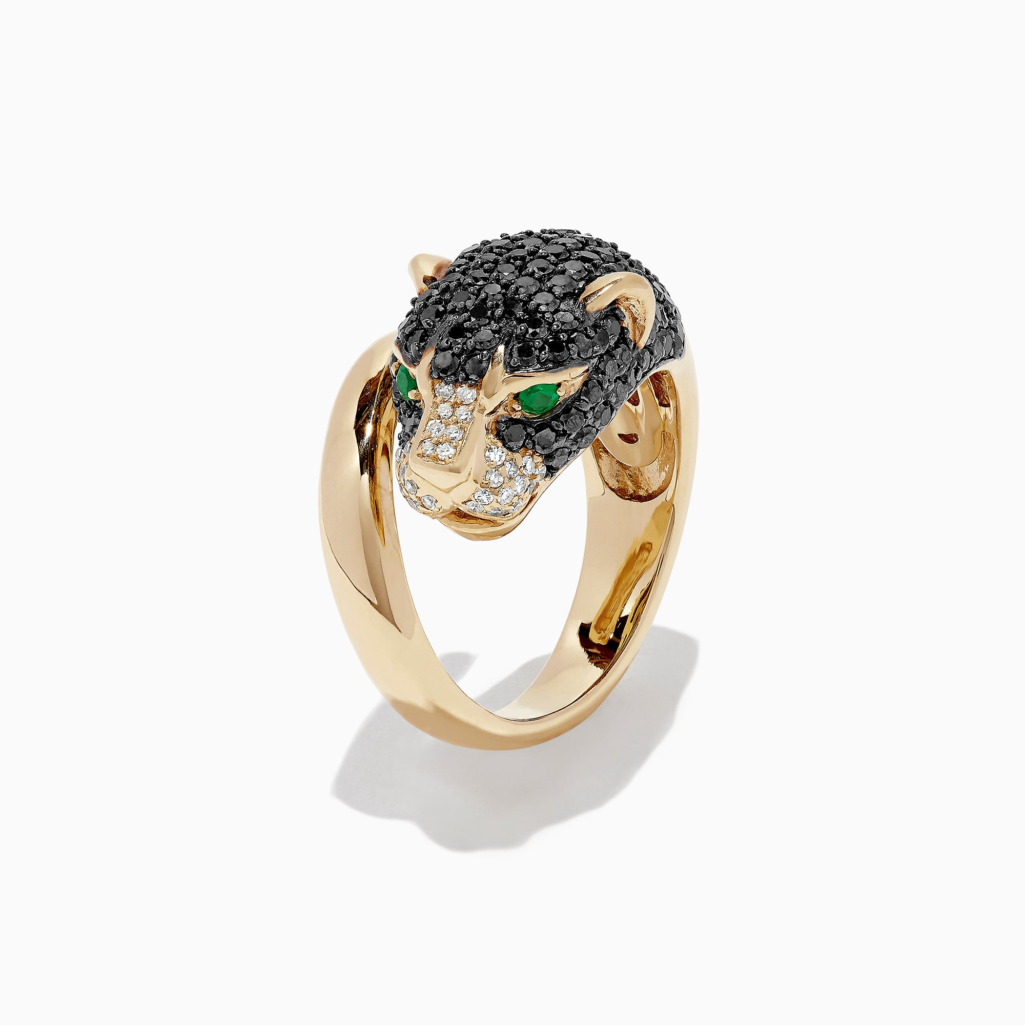 Effy Signature 14K Yellow Gold Diamond and Emerald Panther Ring, 1.8 TCW