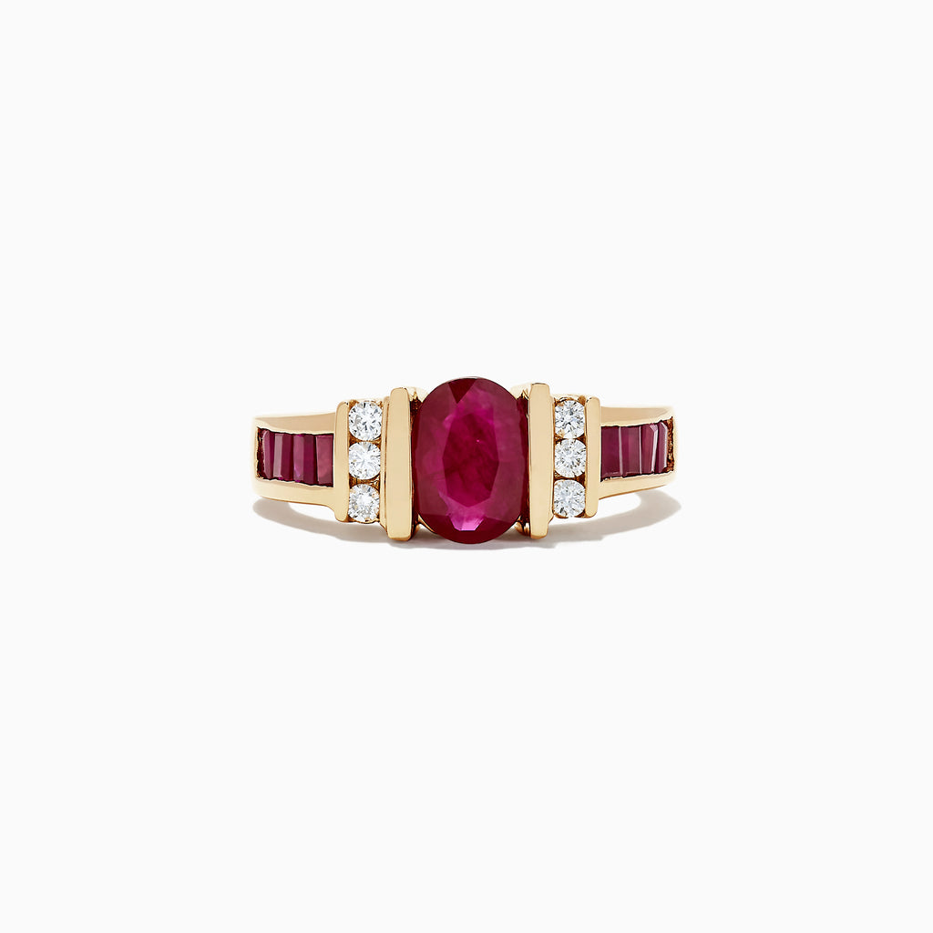 Effy Ruby Royale 14K Yellow Gold Ruby and Diamond Ring, 2.33 TCW