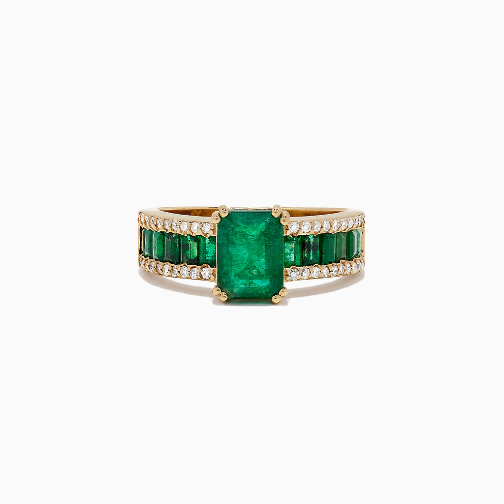 Effy Brasilica 14K Yellow Gold Emerald and Diamond Ring, 2.65 TCW