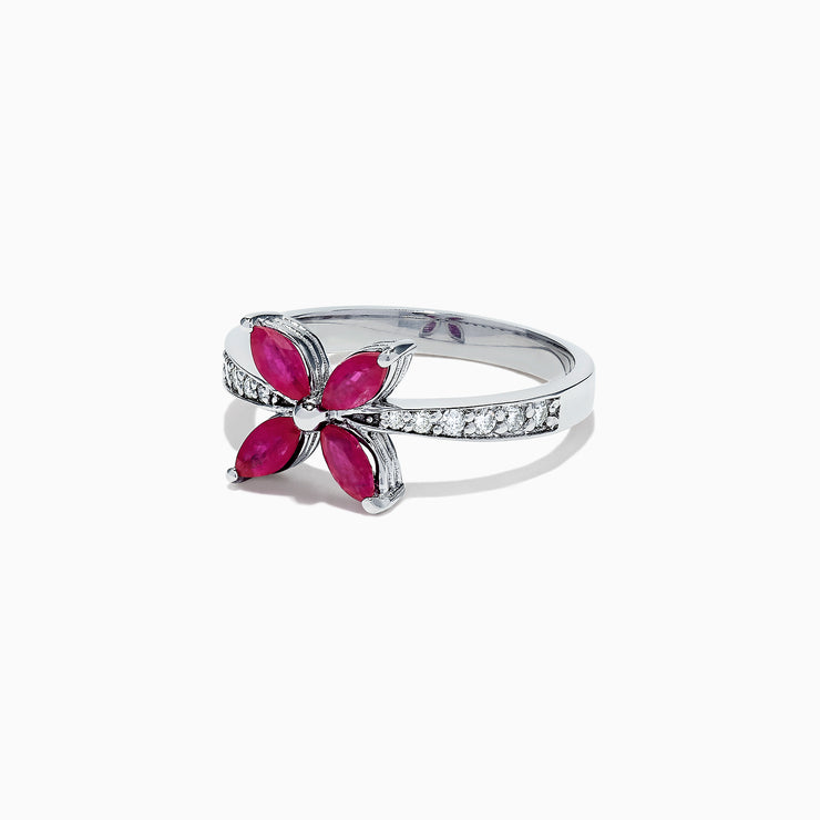 Effy Ruby Royale 14K White Gold Ruby and Diamond Ring, 1.02 TCW
