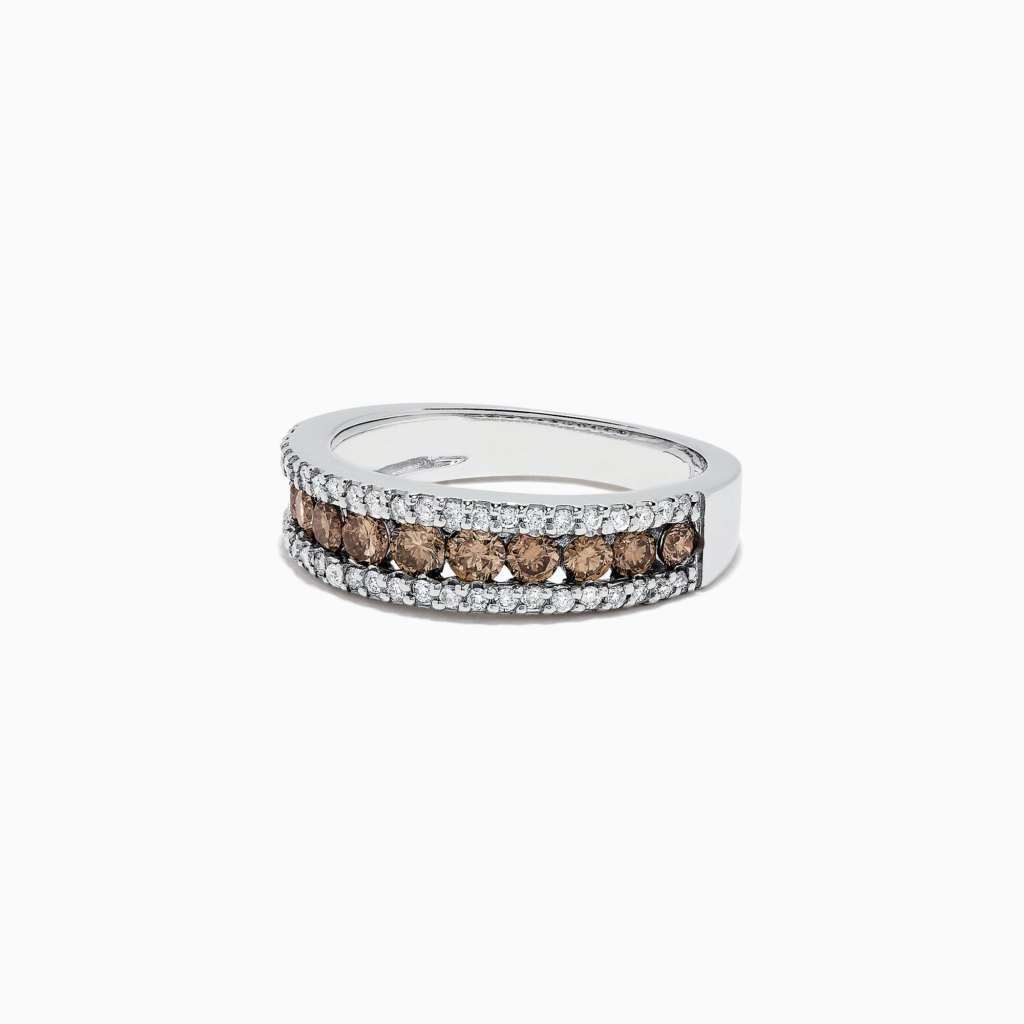 Effy 14K White Gold Espresso and White Diamond Ring, 0.89 TCW