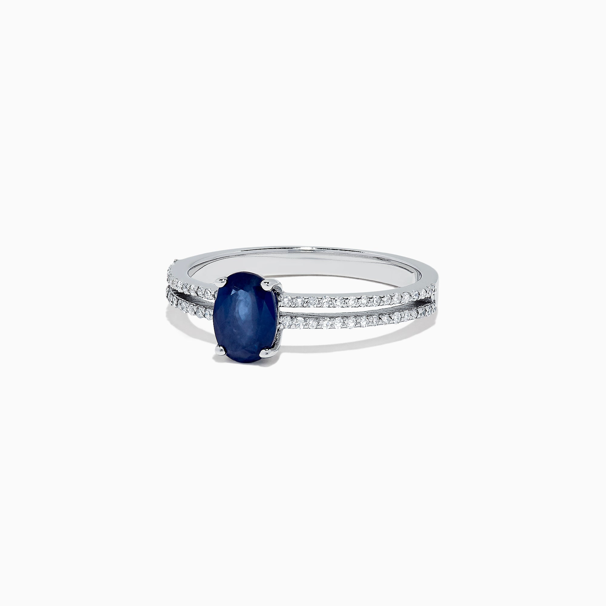 Effy Royale Bleu 14K White Gold Sapphire and Diamond Split Band Ring, 1.13 TCW