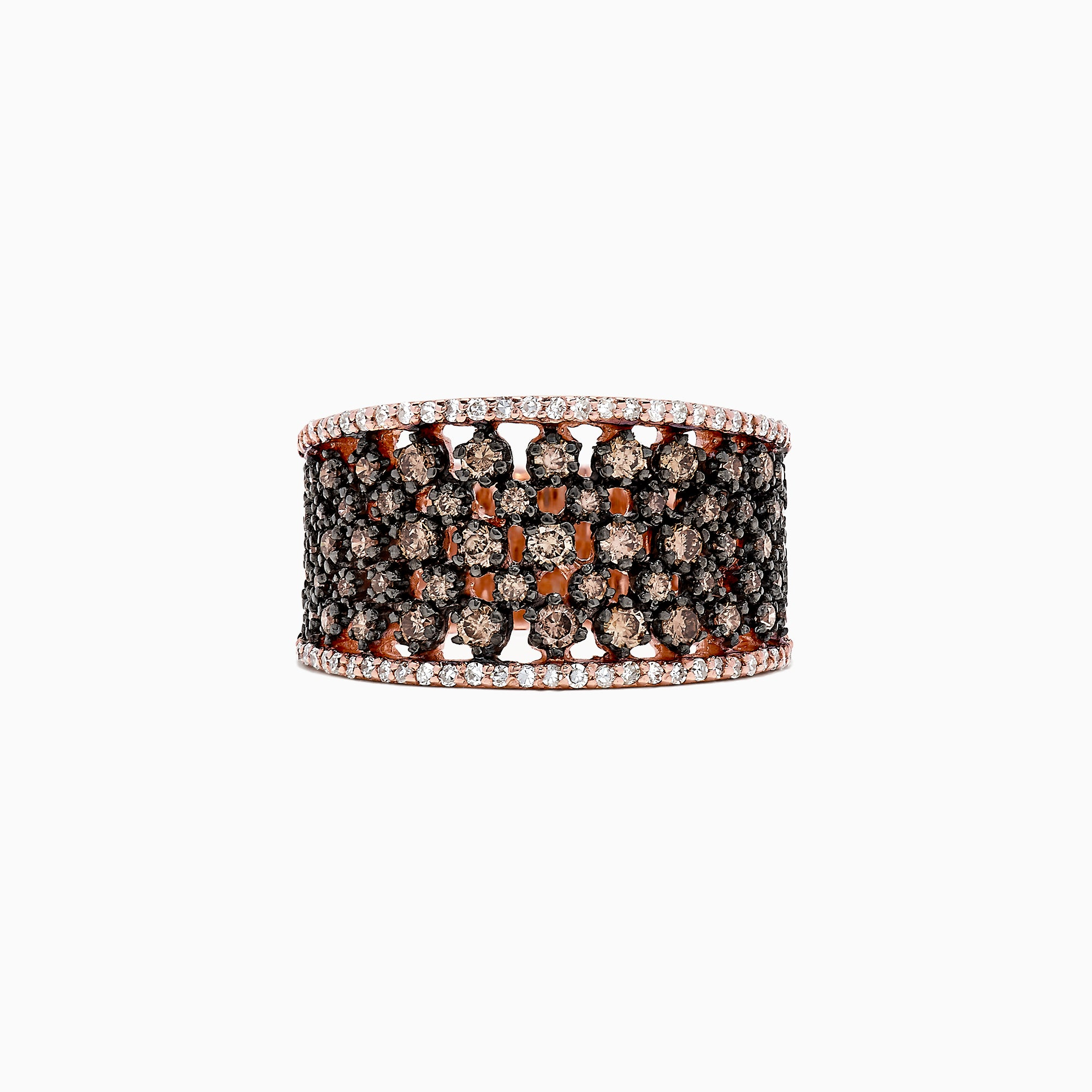 Effy 14K Rose Gold Espresso and White Diamond Ring, 1.25 TCW