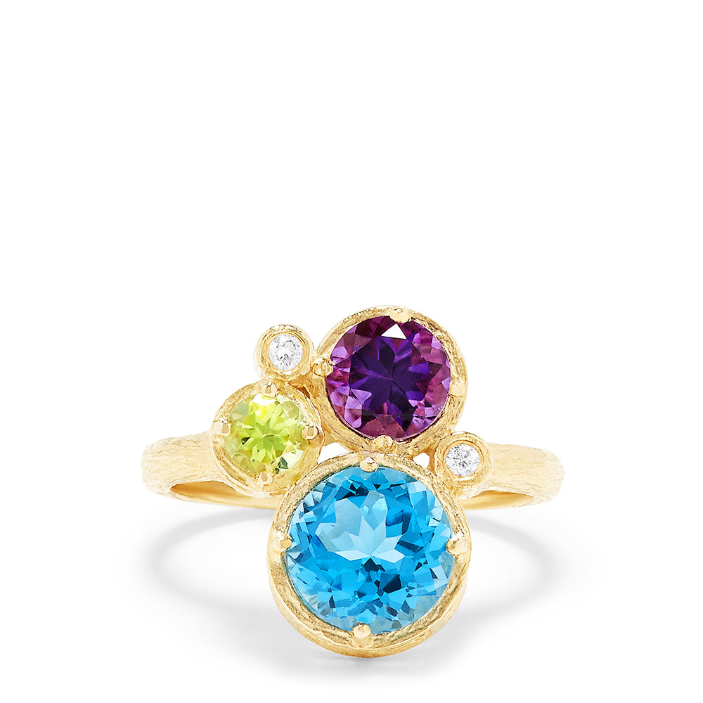 Effy 14K Brushed Yellow Gold Multi Gemstone and Diamond Ring, 3.33 TCW