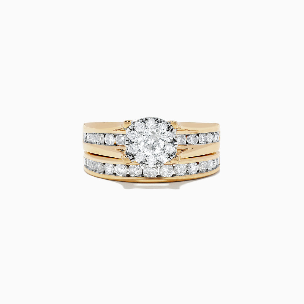 Effy Bouquet 14K Yellow Gold Diamond Ring and Band Set, 1.48 TCW