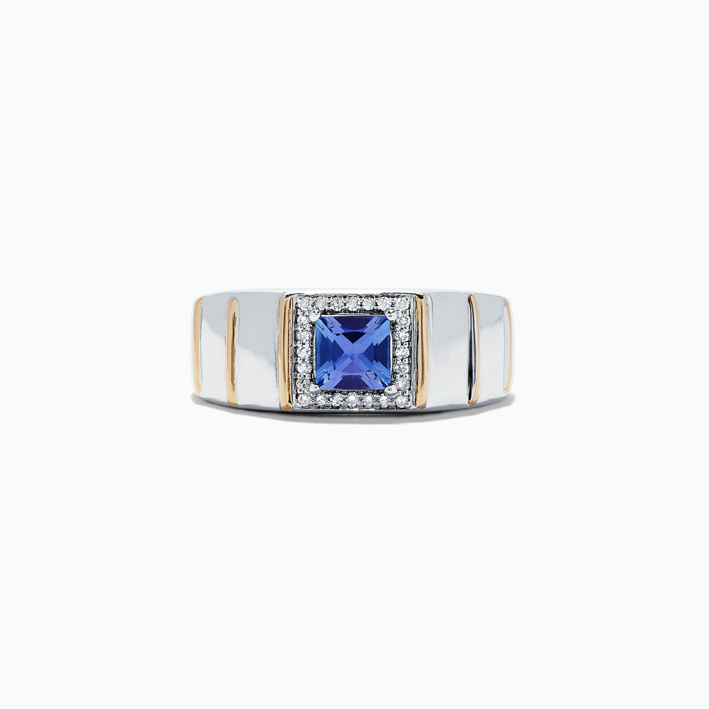 Effy Men's Sterling Silver & 14K Yellow Gold Tanzanite and Diamond Ring, 1.18 TCW