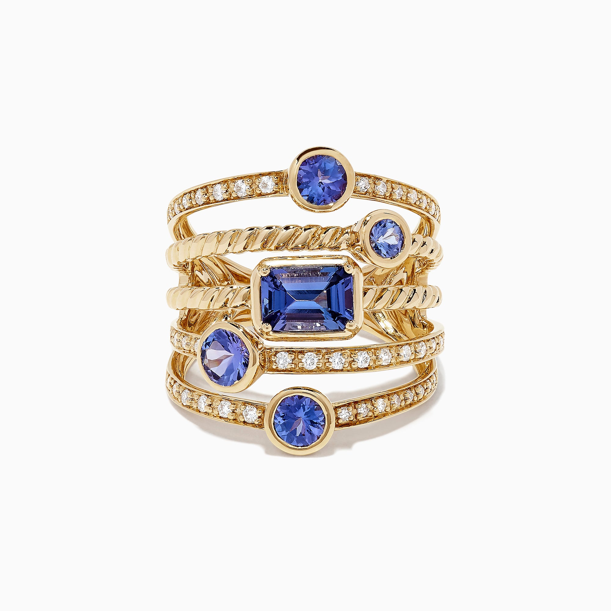 Effy Tanzanite Royale 14K Yellow Gold Tanzanite and Diamond Ring, 2.26 TCW