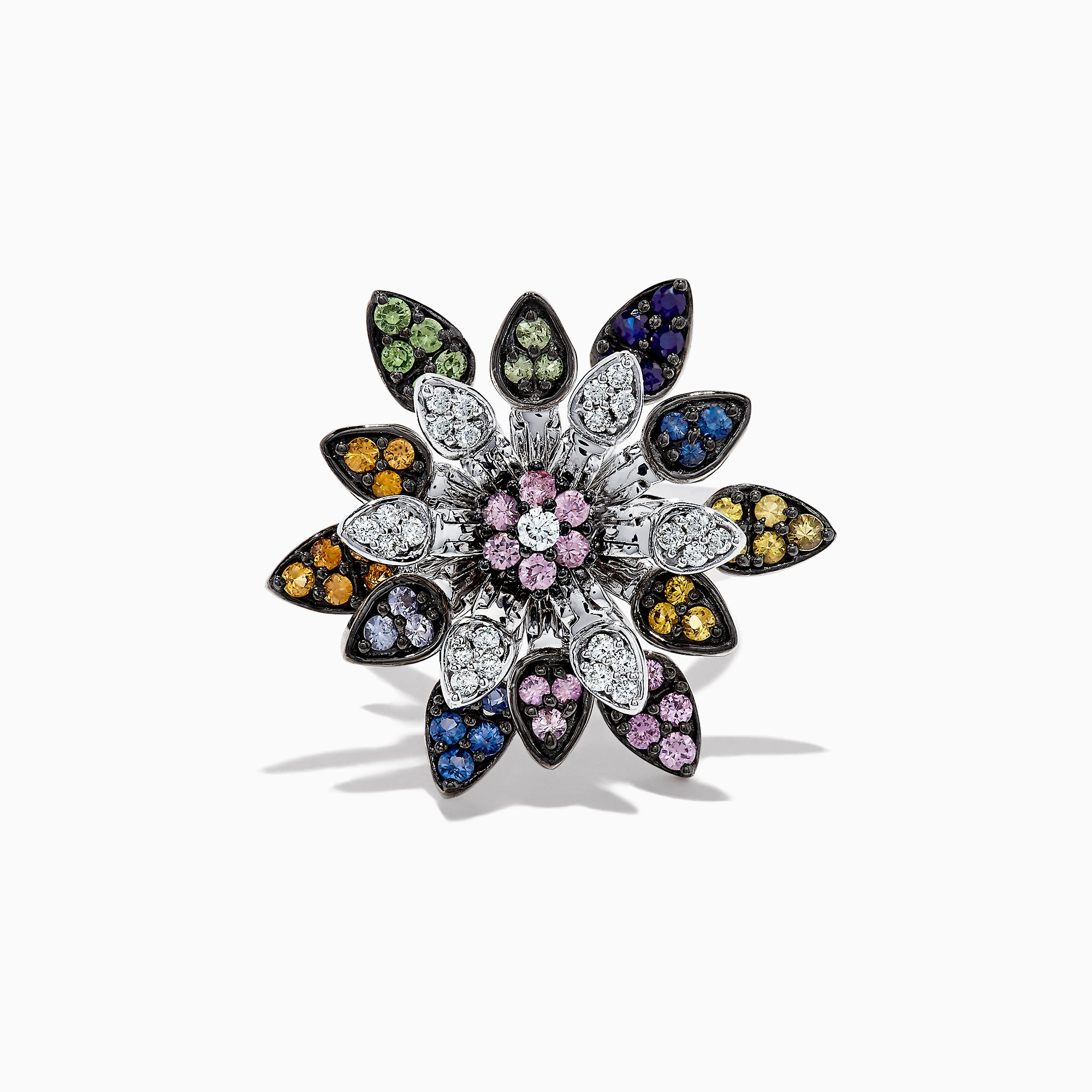 Effy 14K White Gold Multi Sapphire & Diamond Moving Petals Ring, 1.74 TCW