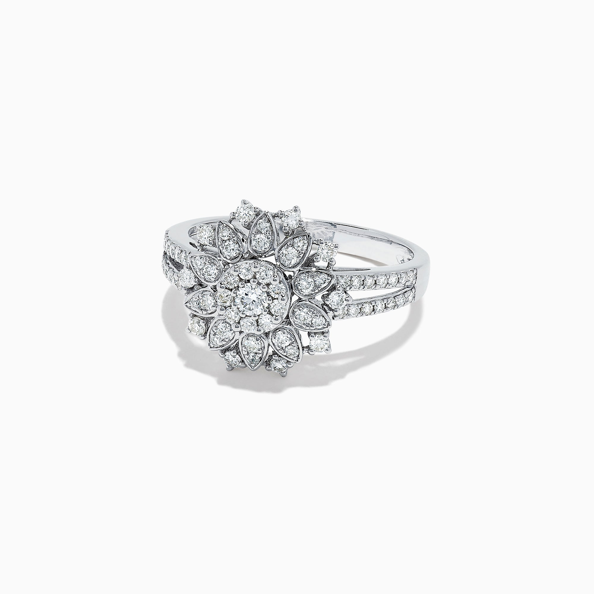 Effy 14K White Gold Diamond Flower Ring, 0.59 TCW