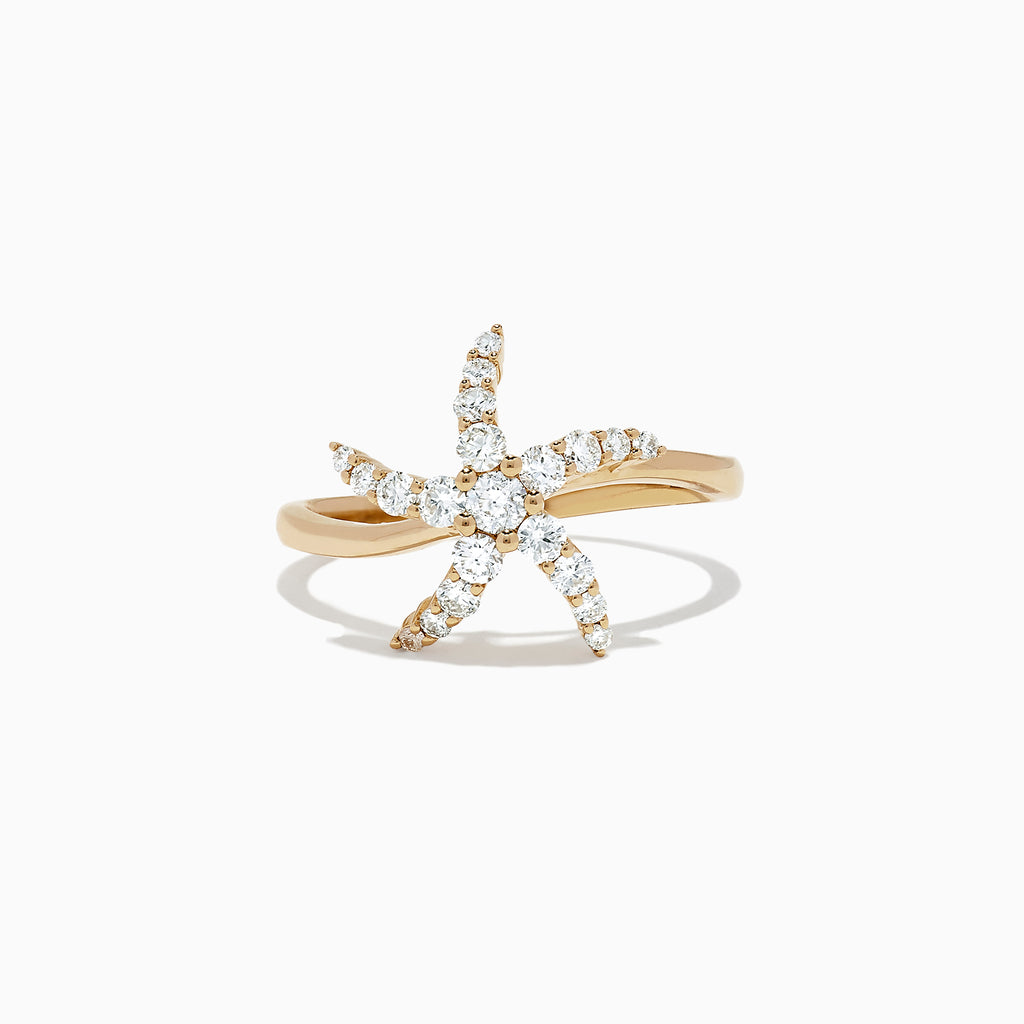 Effy Seaside 14K Yellow Gold Diamond Starfish Ring, 0.49 TCW