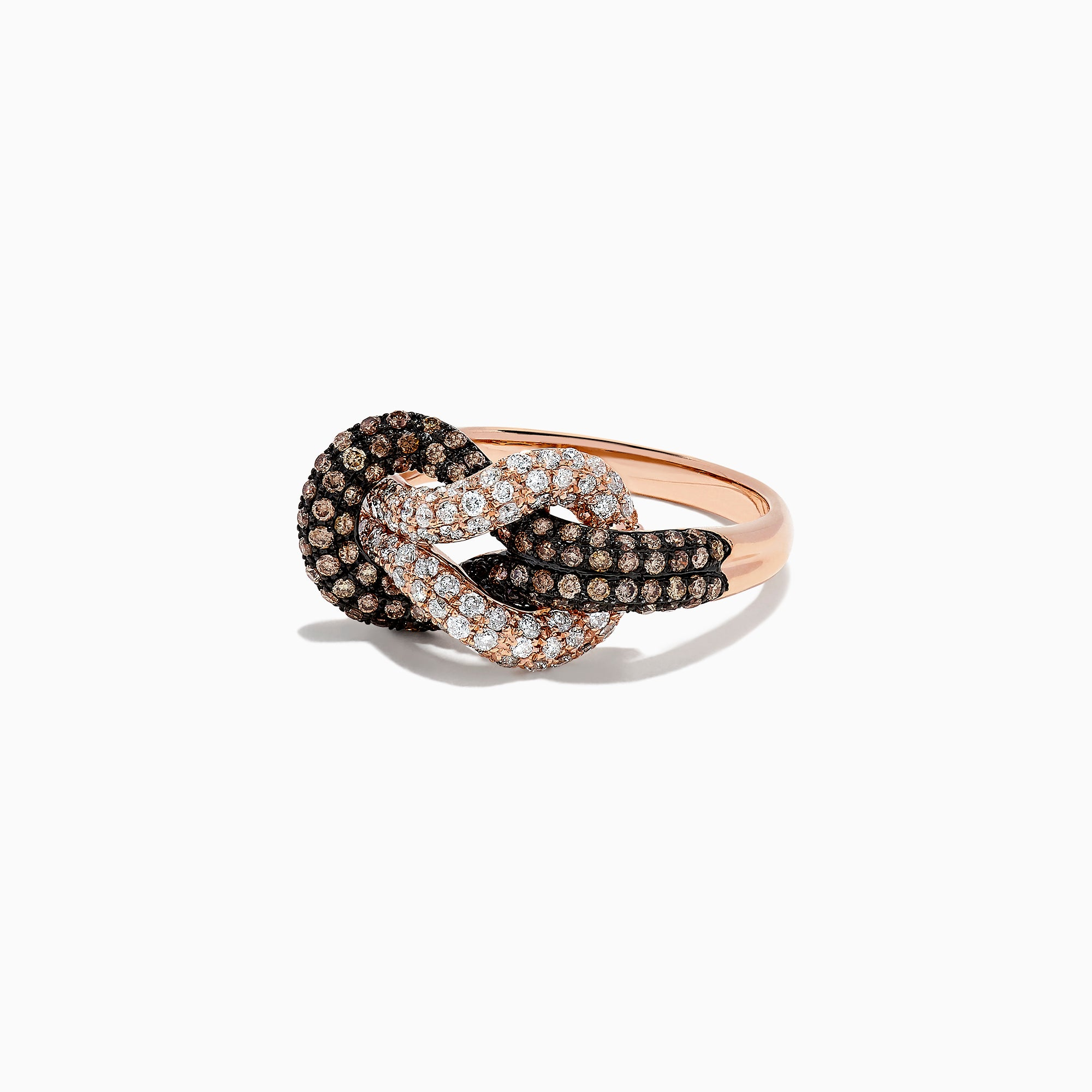 Effy 14K Rose Gold Espresso and White Diamond Slipknot Ring, 0.86 TCW
