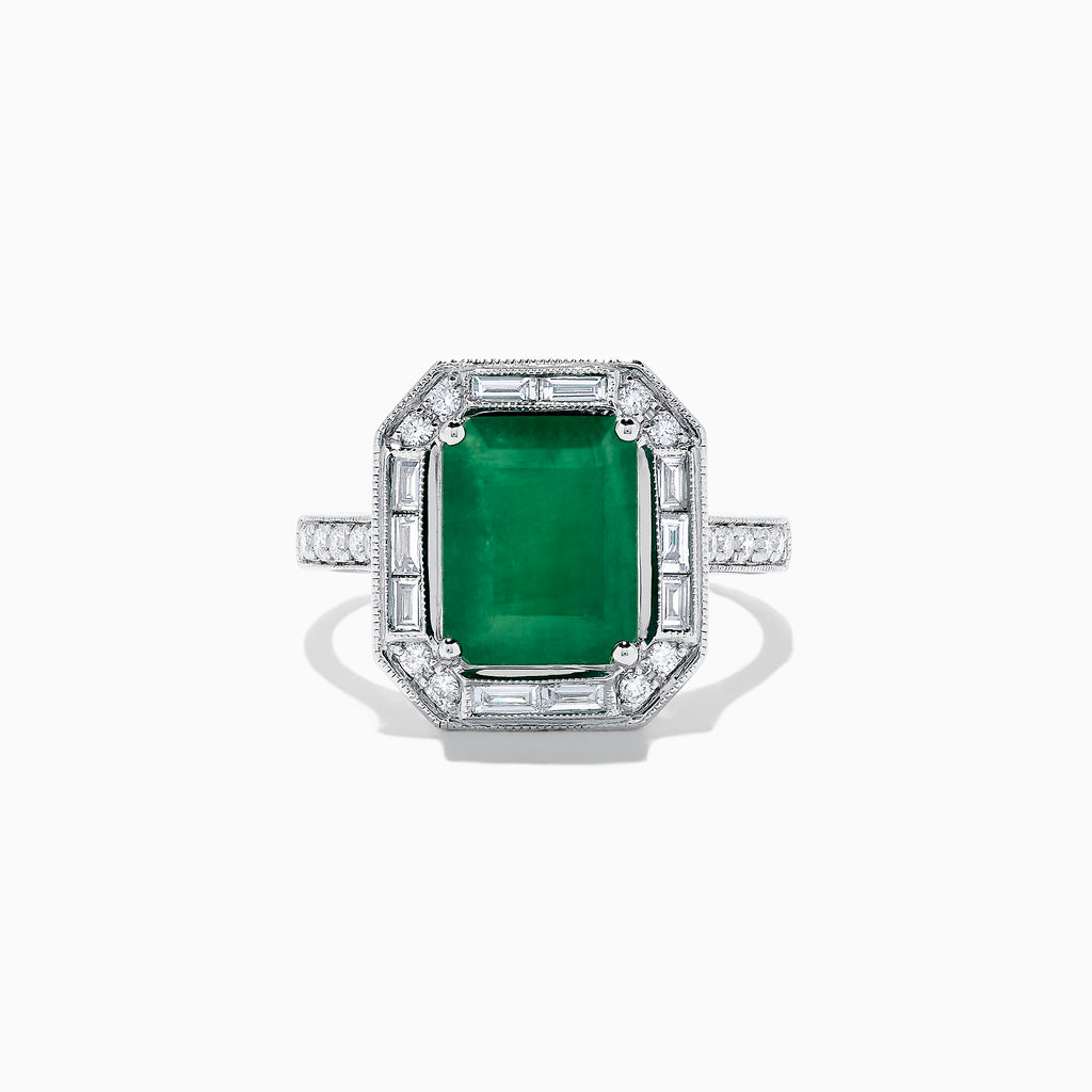 Effy Brasilica 14K White Gold Emerald and Diamond Ring, 3.45 TCW