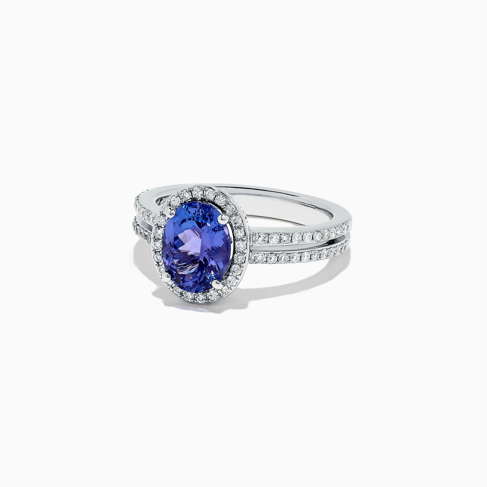 Effy 14K White Gold Tanzanite and Diamond Split Band Ring, 2.09 TCW