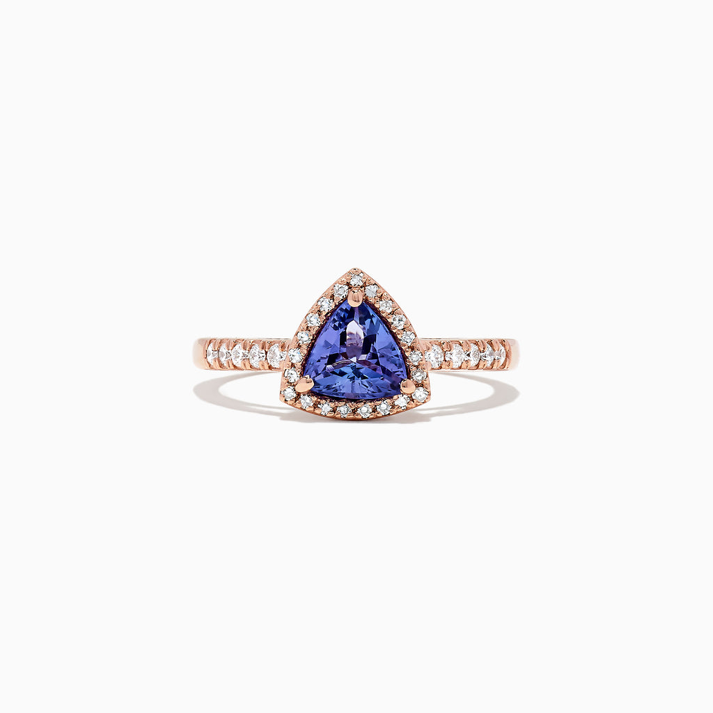 Effy Tanzanite Royale 14K Rose Gold Tanzanite and Diamond Ring, 0.96 TCW