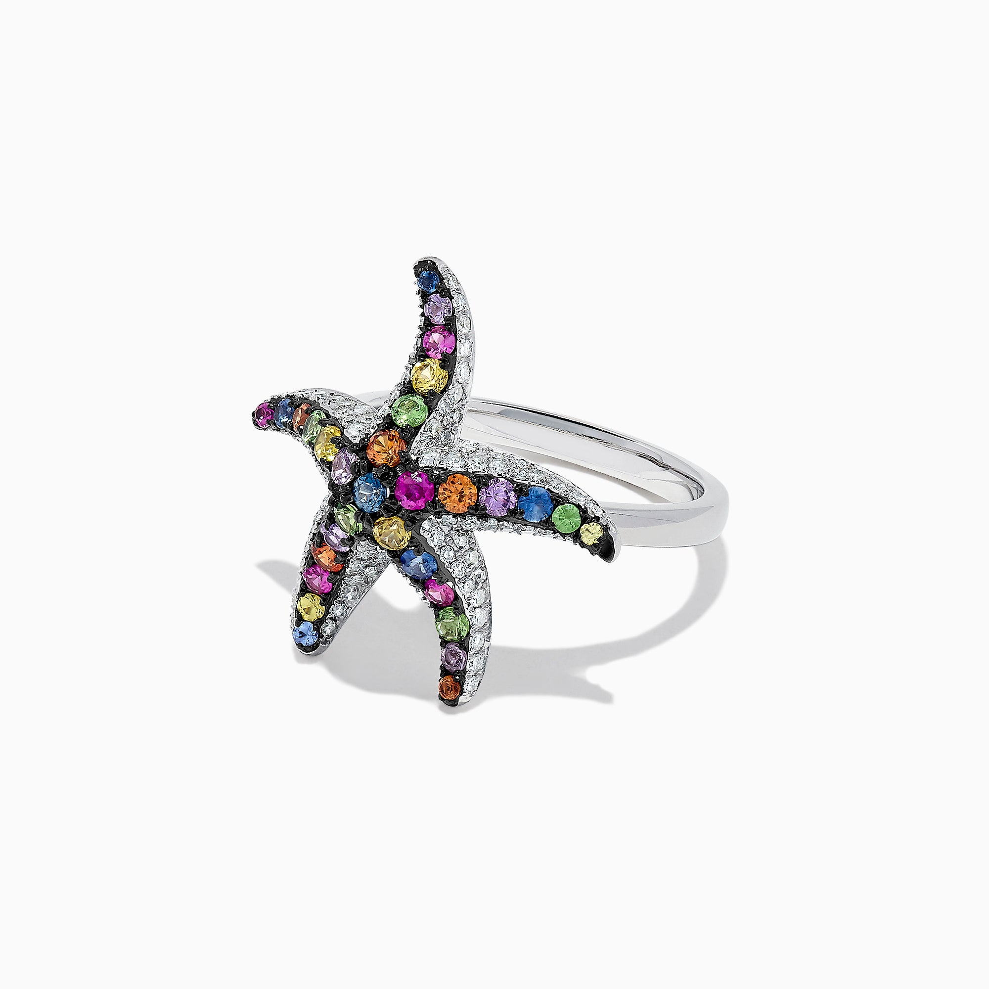 Effy Watercolors 14K Gold Multi Sapphire & Diamond Starfish Ring, 1.25 TCW