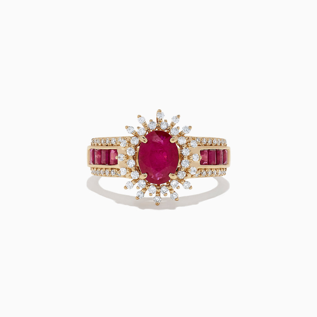 Effy Ruby Royale 14K Yellow Gold Ruby and Diamond Ring, 2.57 TCW
