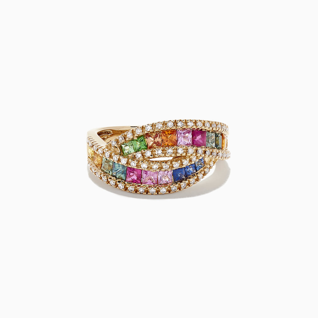 Effy Watercolors 14K Yellow Gold Multi Sapphire and Diamond Ring, 1.95 TCW
