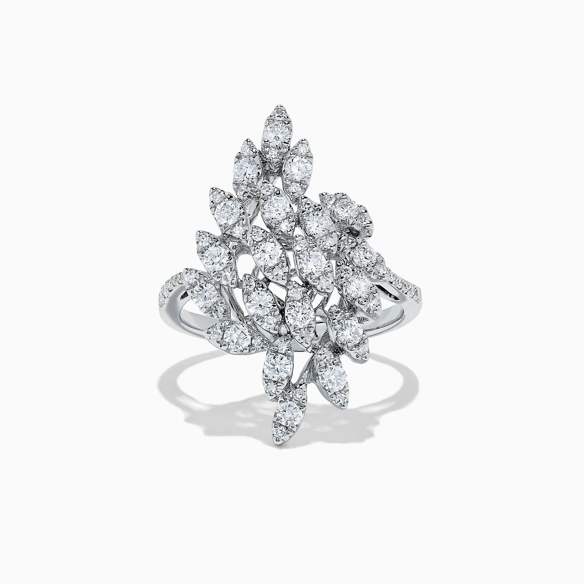 Effy 14K White Gold Diamond Petals Ring, 0.94 TCW