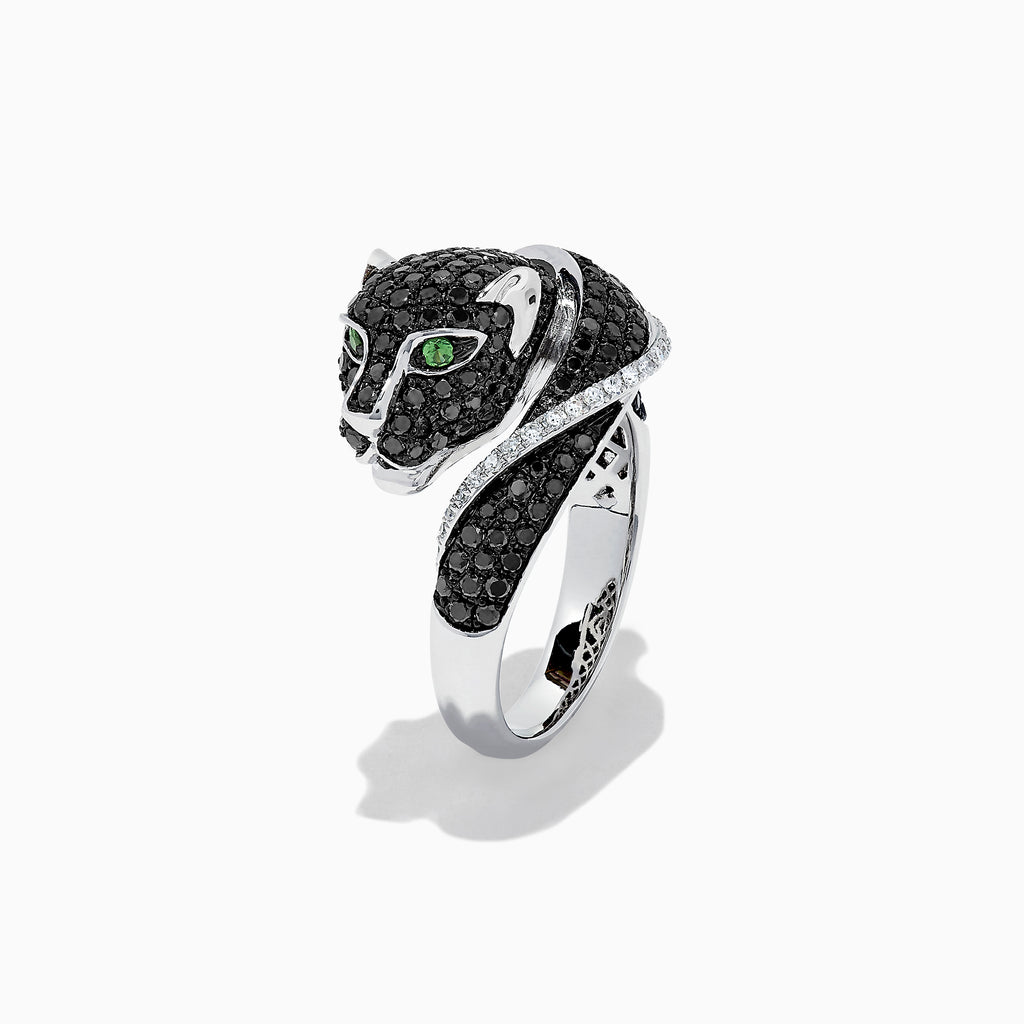 Effy Signature 14K White Gold Black & White Diamond Panther Ring, 1.54 TCW