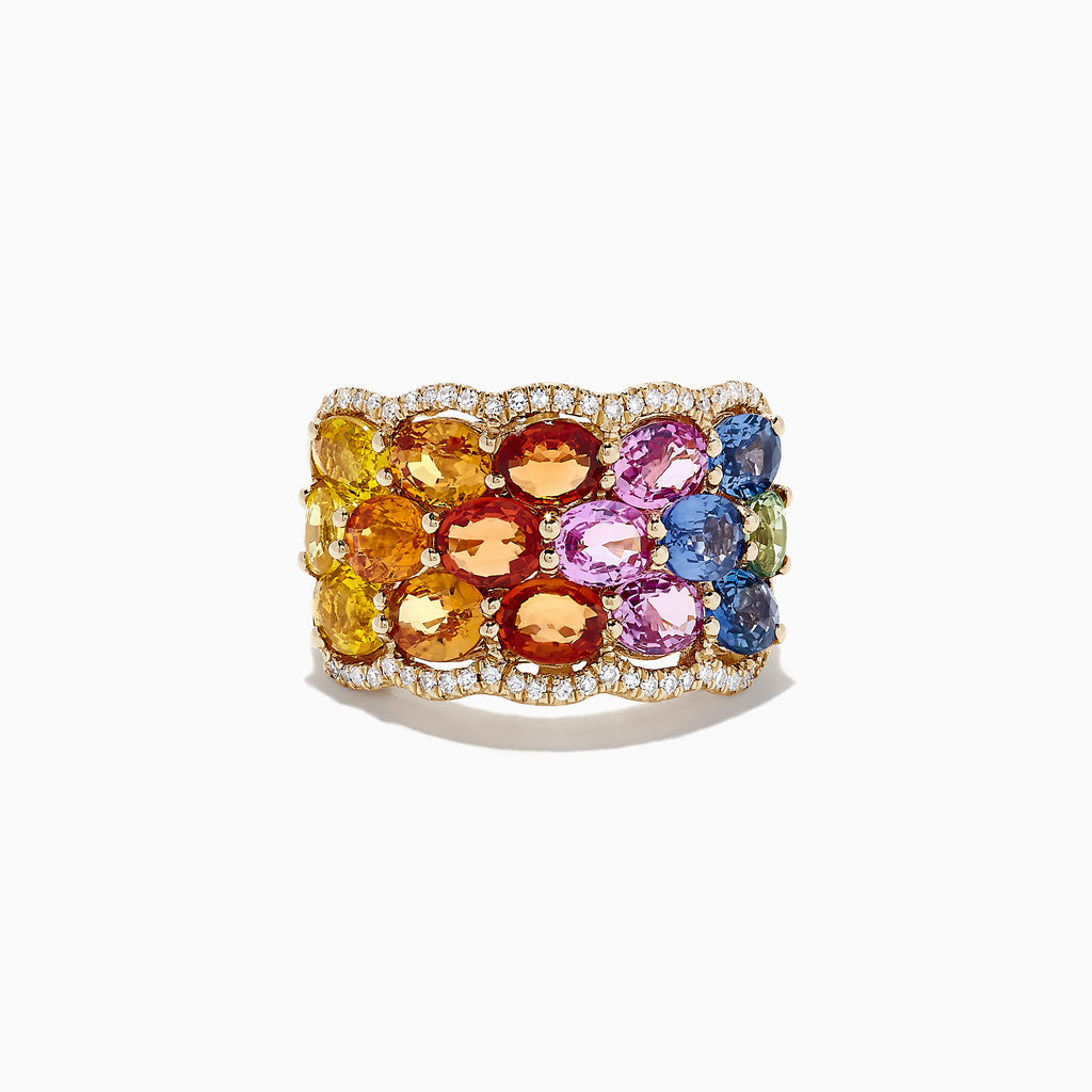 Effy Watercolors 14K Yellow Gold Multi Sapphire and Diamond Ring, 5.99 TCW