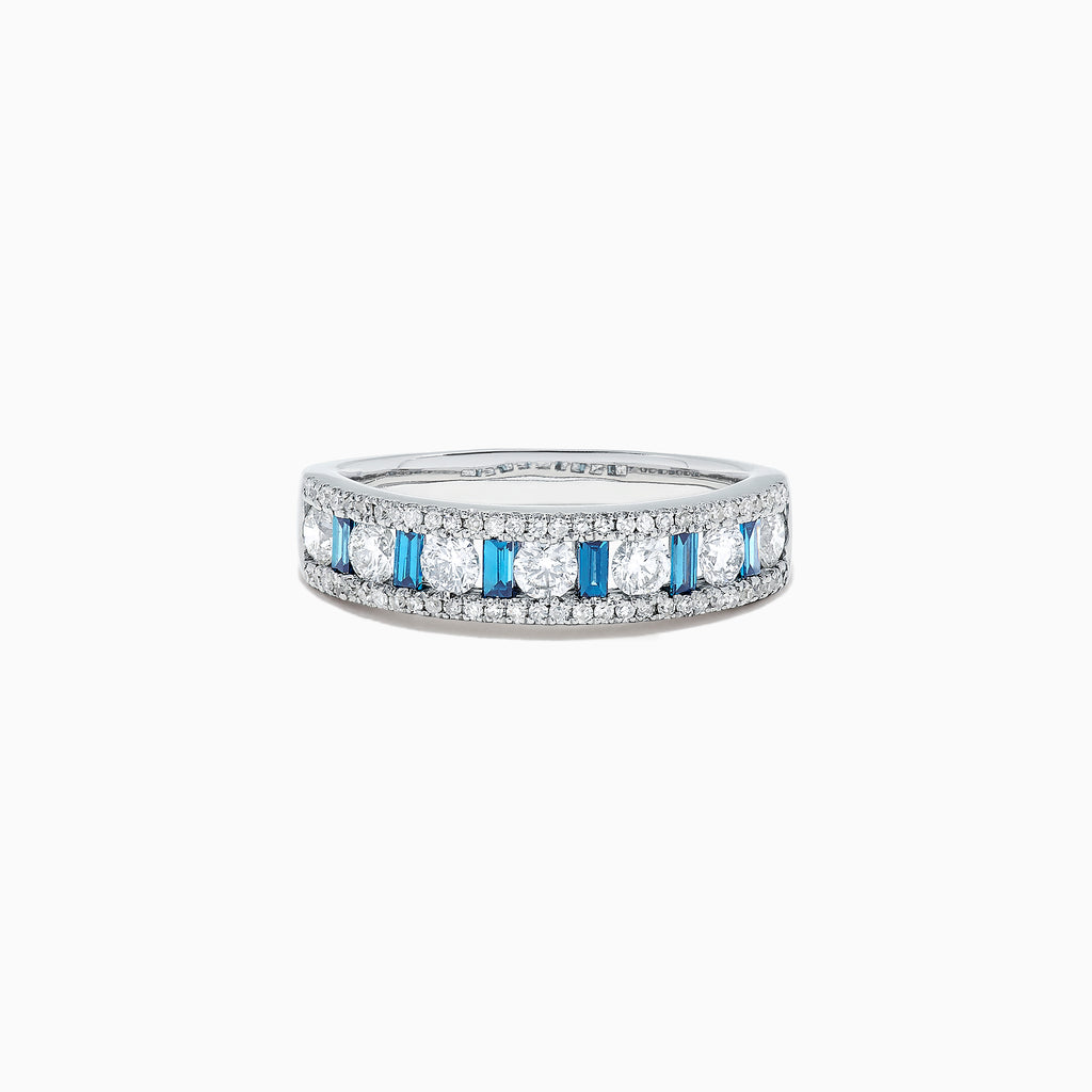 Effy Bella Bleu 14K White Gold Blue and White Diamond Ring, 0.97 TCW