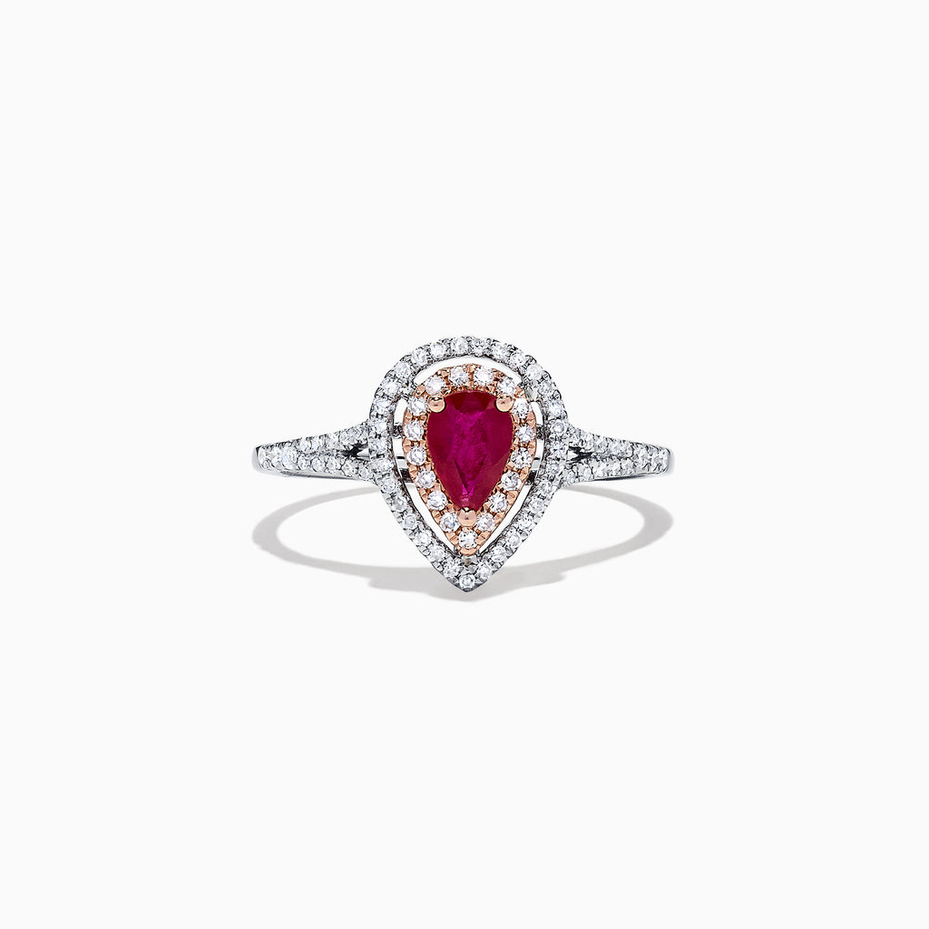 Effy Ruby Royale 14K Two Tone Gold Ruby and Diamond Pear Shaped Ring, 0.77 TCW