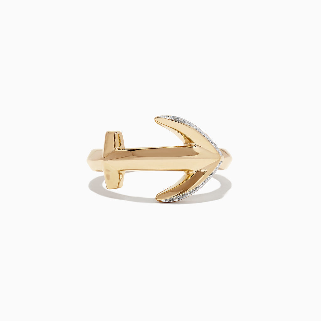 Effy Men's 14K Yellow Gold Diamond Anchor Ring, 0.09 TCW